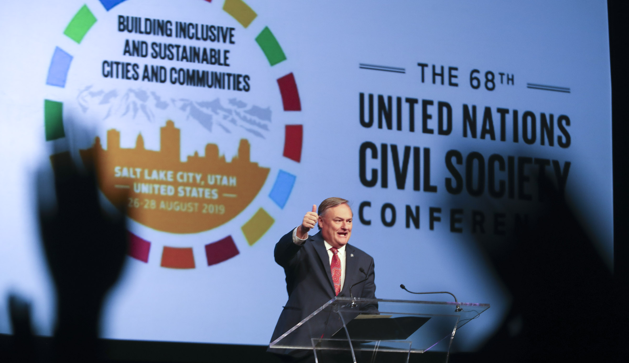 Michael Mower, deputy chief of staff for Gov. Gary Herbert, speaks during the 68th United Nations Civil Society Conference at the Salt Palace Convention Center on Monday, Aug. 26, 2019.
