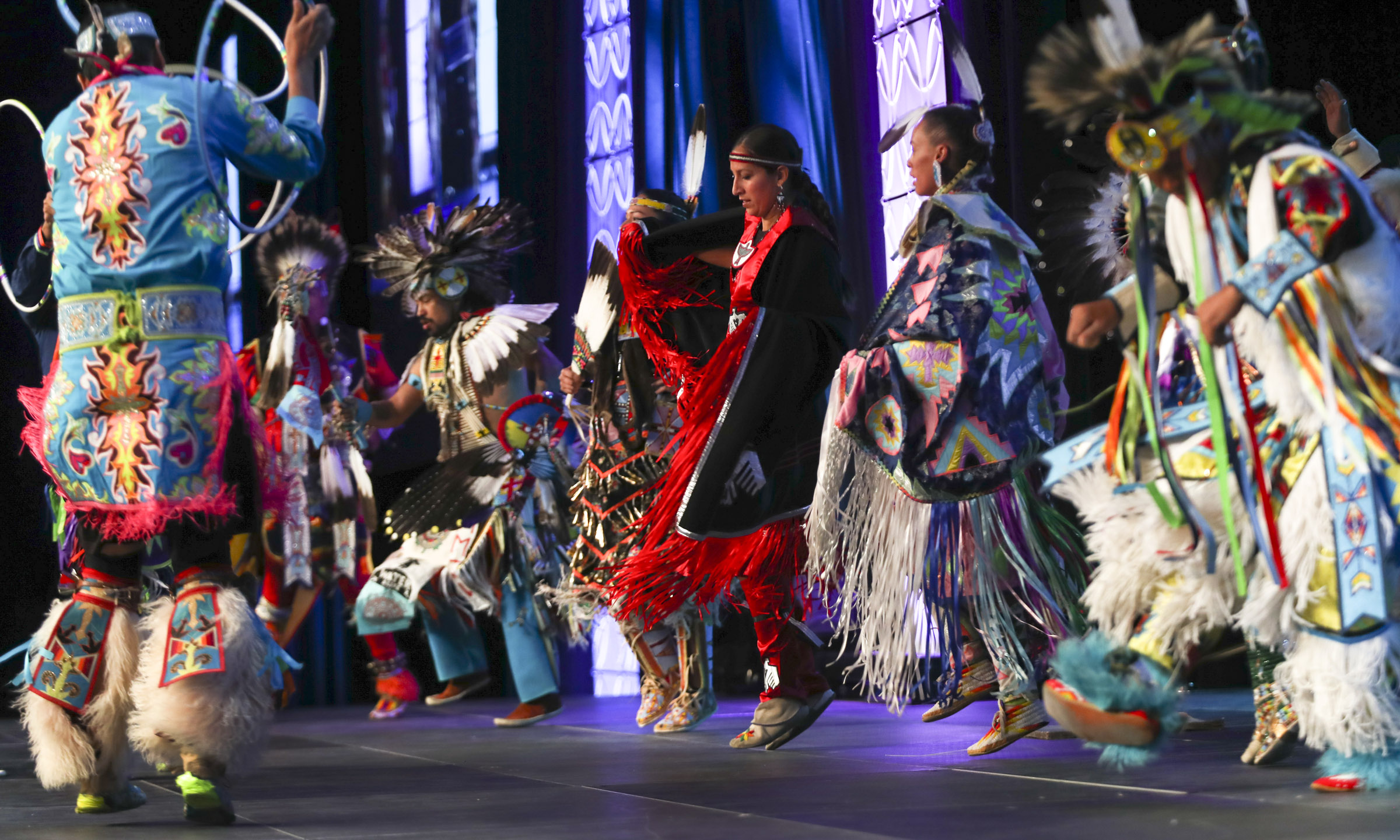 Tribal dancers from the Northern Ute, Navajo and Hopi tribes perform during opening day of the 68th United Nations Civil Society Conference at the Salt Palace Convention Center on Monday, Aug. 26, 2019.