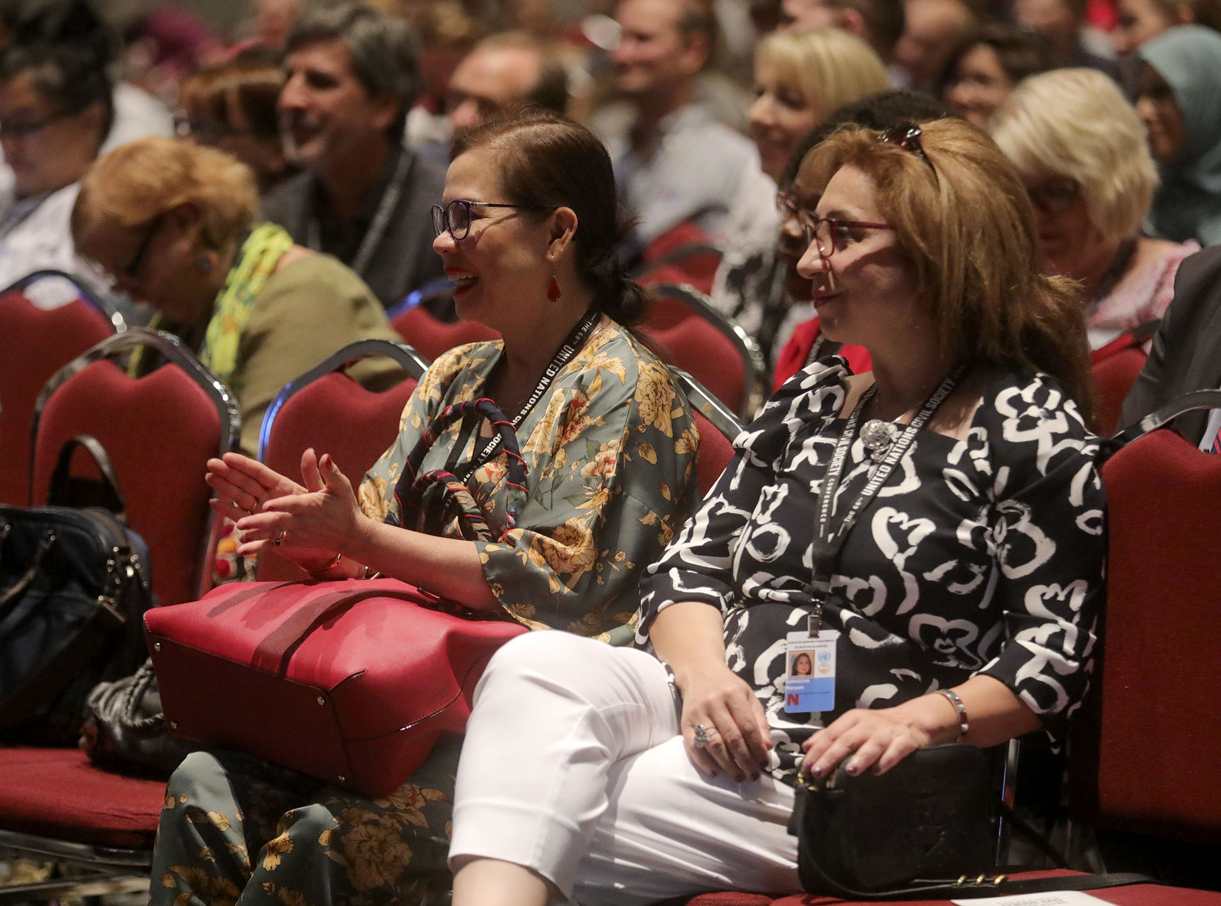 People listen to panelists during a thematic session titled Building Inclusive Communities Through Education at the 68th United Nations Civil Society Conference at the Salt Palace Convention Center in Salt Lake City on Monday, Aug. 26, 2019.