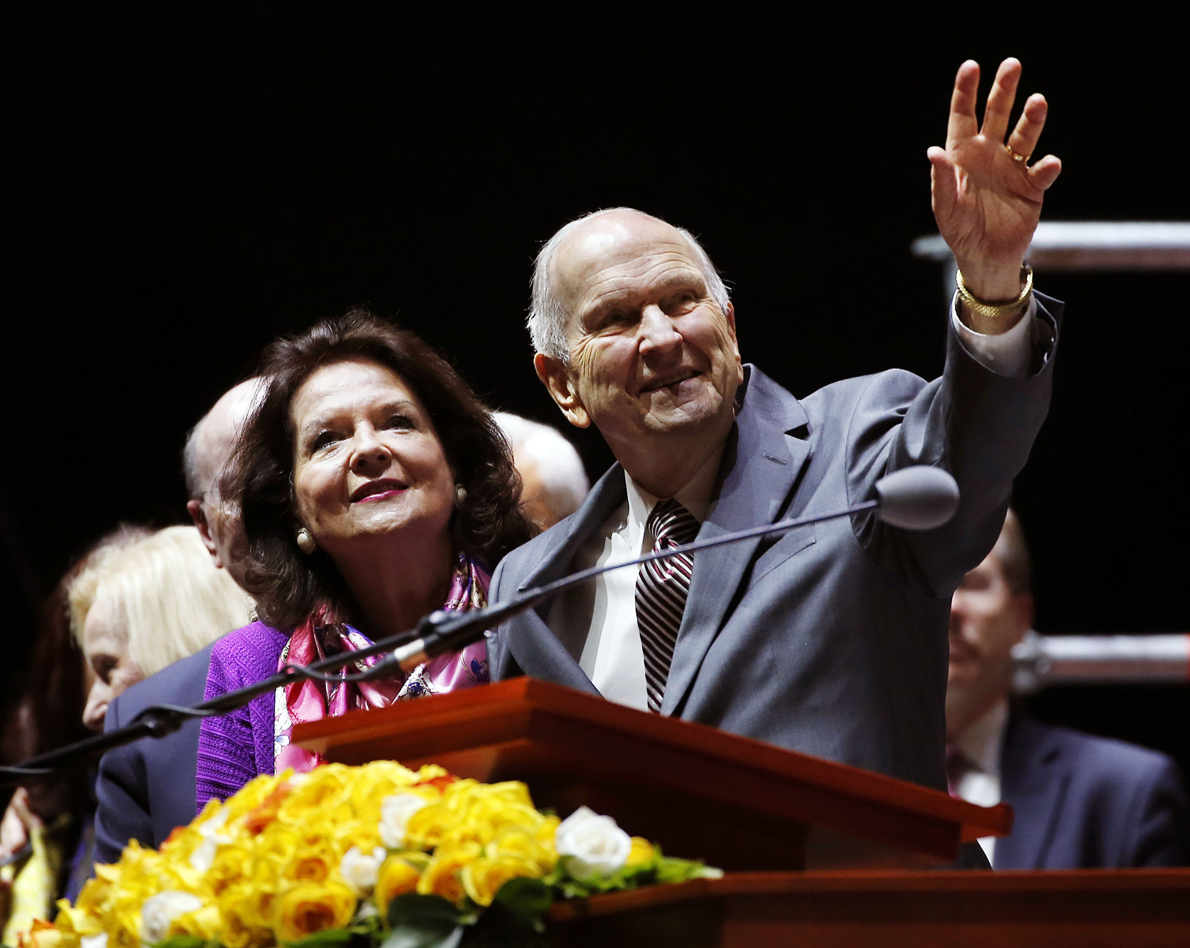 President Russell M. Nelson of The Church of Jesus Christ of Latter-day Saints and his wife, Sister Wendy Nelson, say goodbye at the conclusion of a Latin America Ministry Tour devotional in Bogota, Colombia, on Sunday, Aug. 25, 2019.