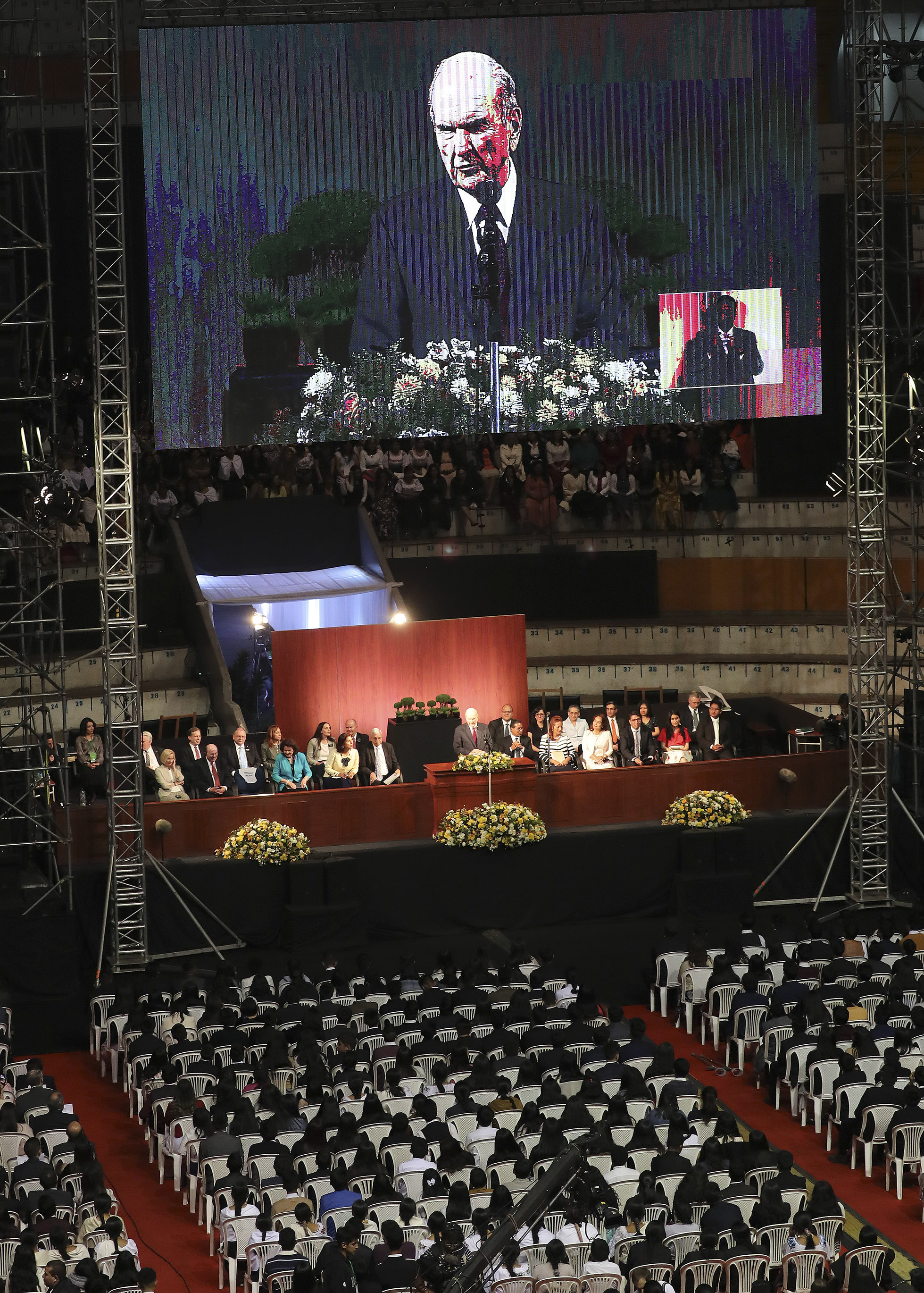 President Russell M. Nelson of The Church of Jesus Christ of Latter-day Saints speaks during a devotional in Quito, Ecuador, on Monday, Aug. 26, 2019.
