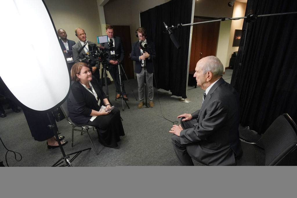 President Russell M. Nelson of The Church of Jesus Christ of Latter-day Saints is interviewed by media at the 110th annual national convention for the National Association for the Advancement of Colored People in Detroit on Sunday, July 21, 2019.