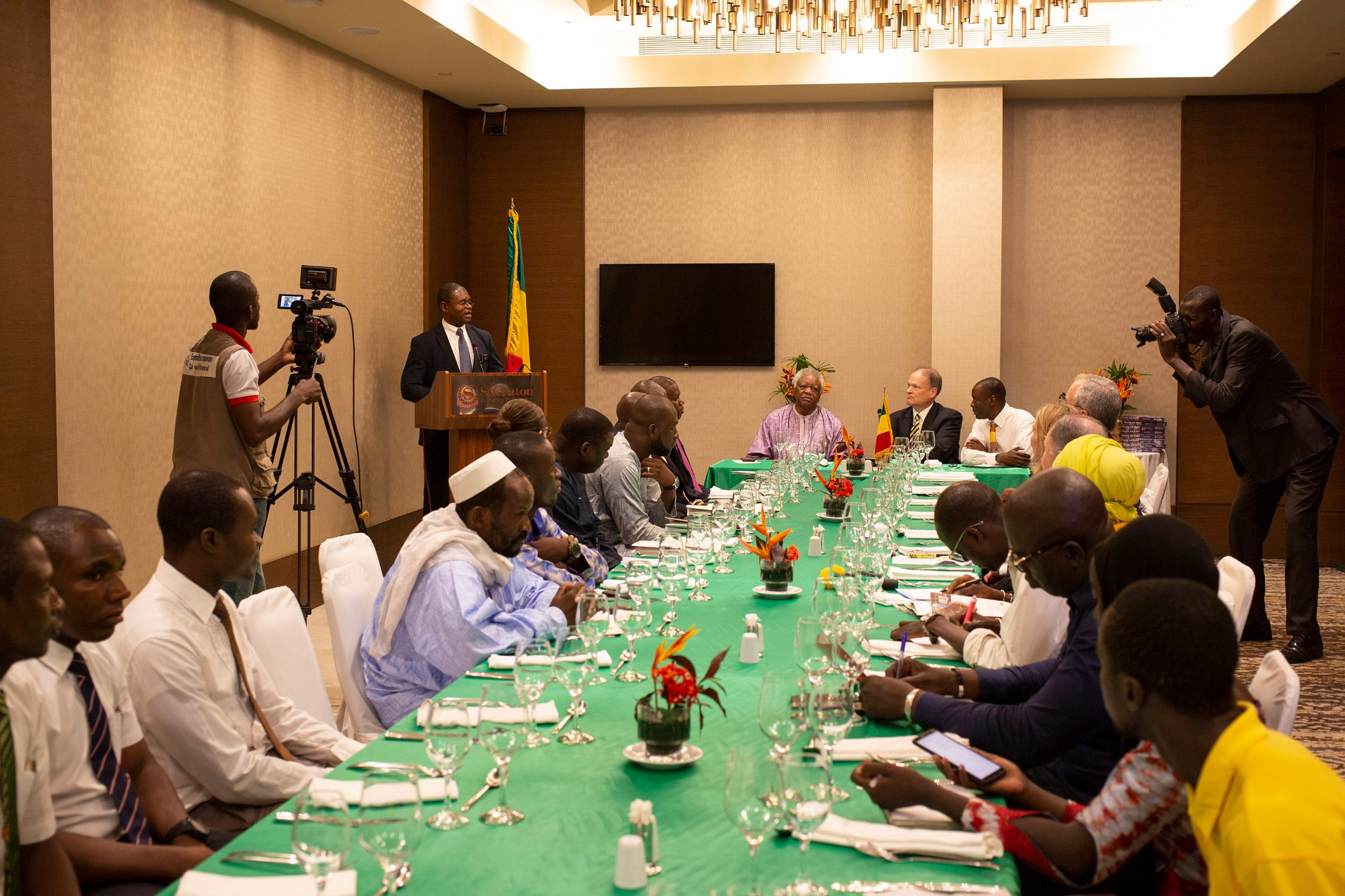 Binene Sabwe, president of the Cote d'Ivoire Abidjan East Mission, speaks to the group during the recognition meeting of The Church of Jesus Christ of Latter-day Saints on Sept. 12, 2019, in Bamako, Mali.