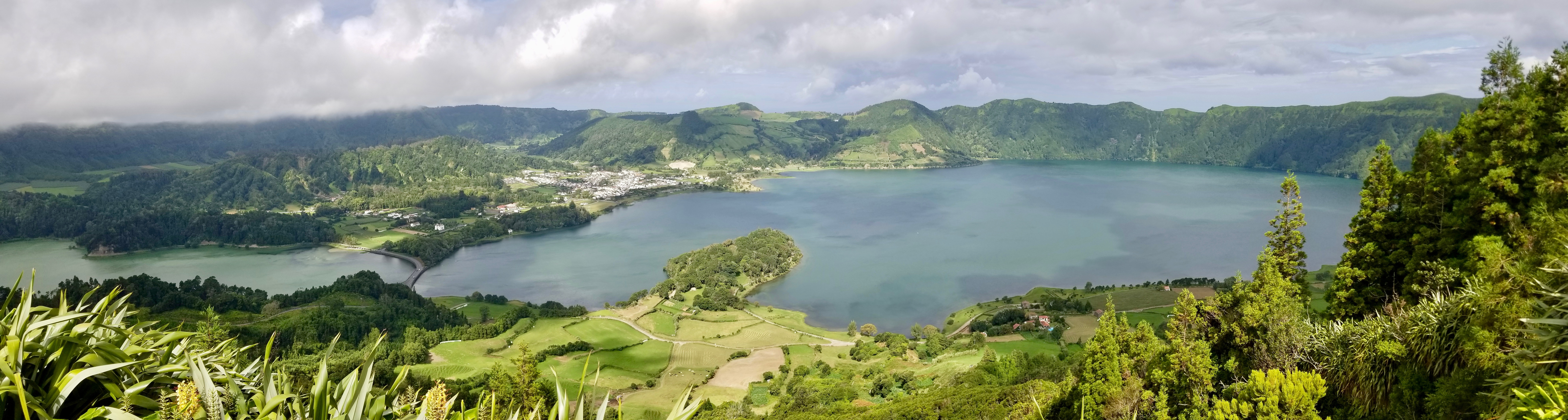 A panoramic view of Sete Cidades, a parish of the municipality of São Miguel Island's Ponta Delgada, along with the two volcanic-crater lakes, Lagoa Verde, left, and Lagoa Azul, right. Photo taken Sept 17, 2019.