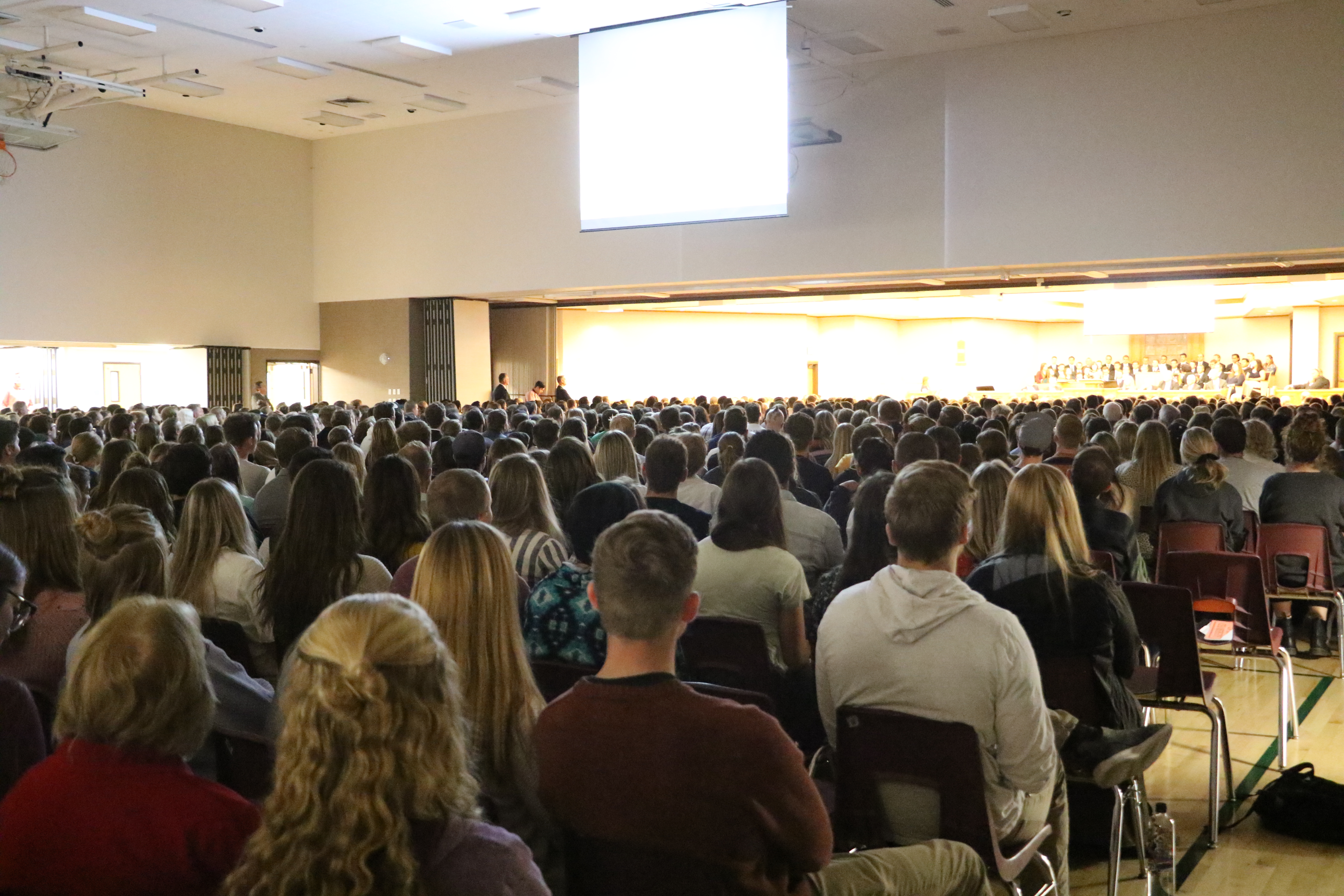Students gather at the institute of religion on the UVU campus in Orem, Utah on Friday, Sept. 20, 2019 for a devotional with President M. Russell Ballard.