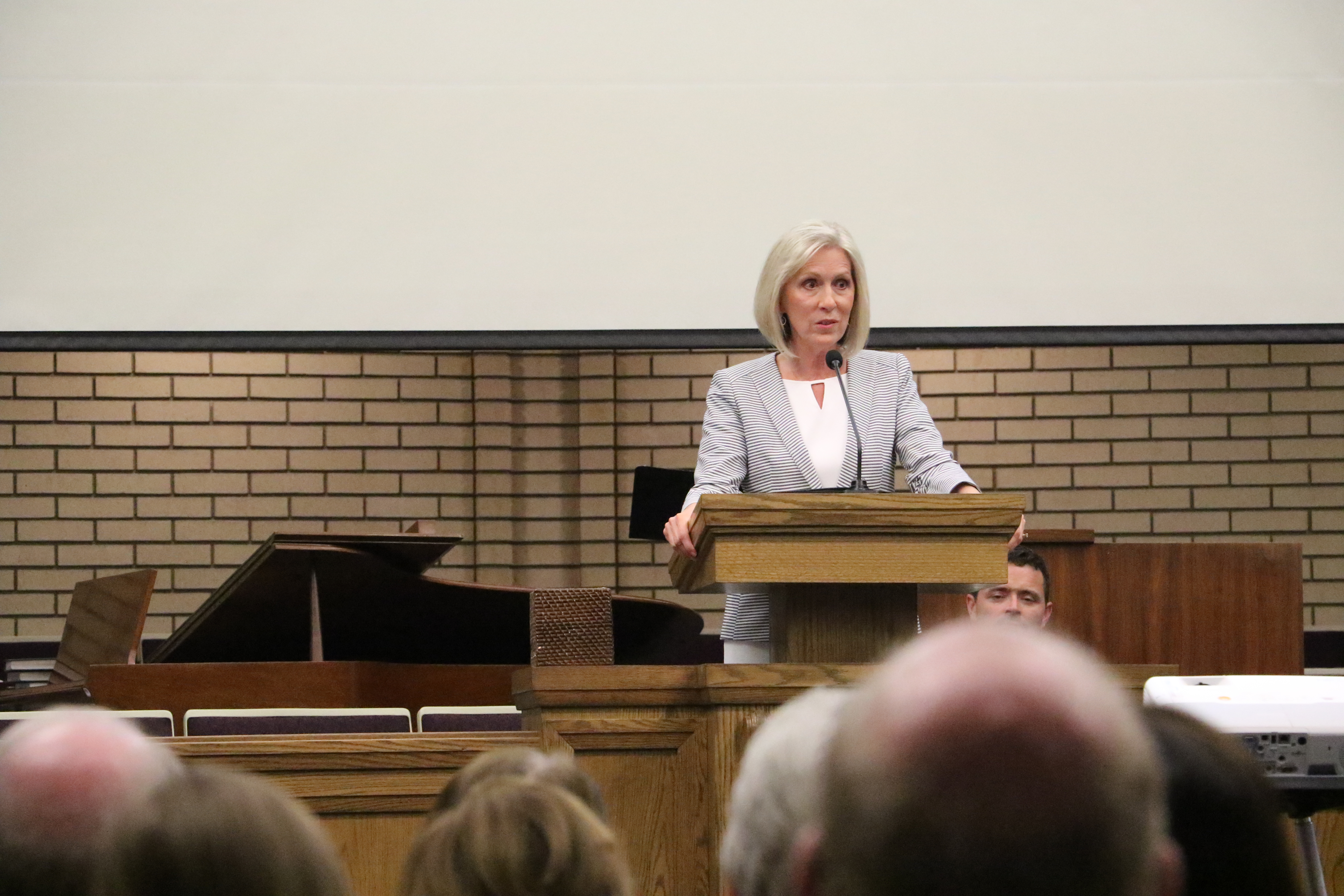 Sister Joy D. Jones speaks at a devotional on religious freedom and civic responsibility in Holladay, Utah, on Sept. 22, 2019.