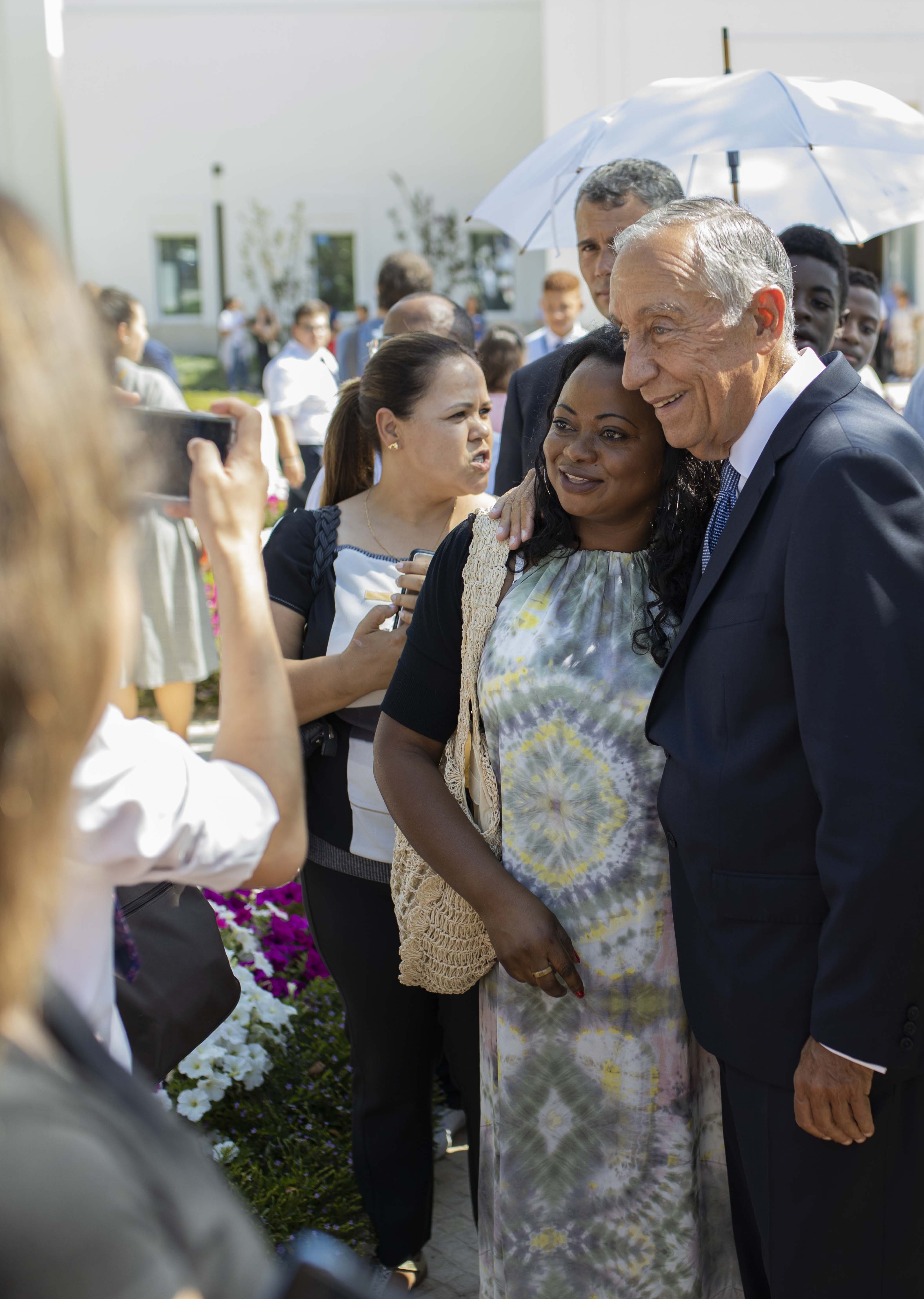 The president of Portugal, Marcelo Rebelo de Sousa, greets members of the Church who attend the Lisbon Portugal Temple open house on Aug. 29, 2019.