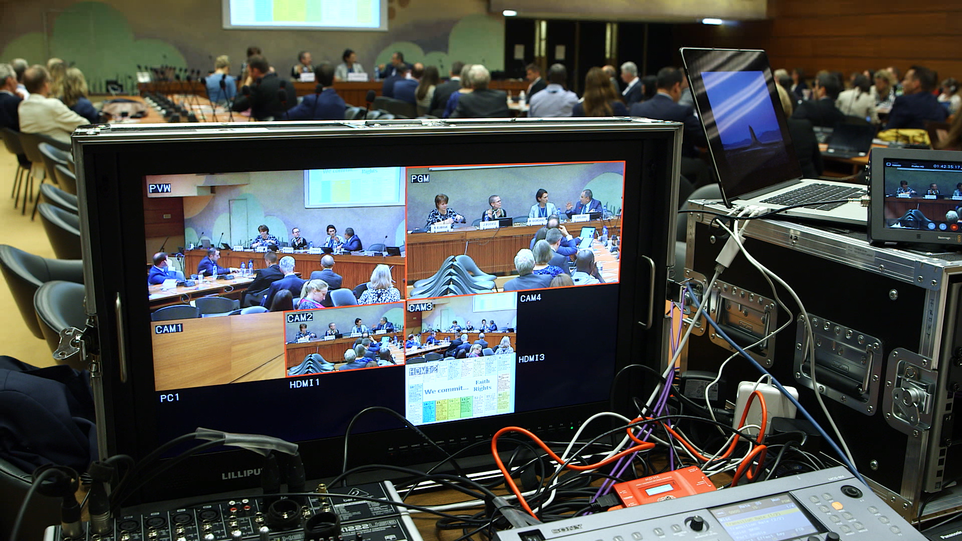 Behind the scenes at a panel discussion at the United Nations in Geneva, Tuesday, Sept. 17, 2019.