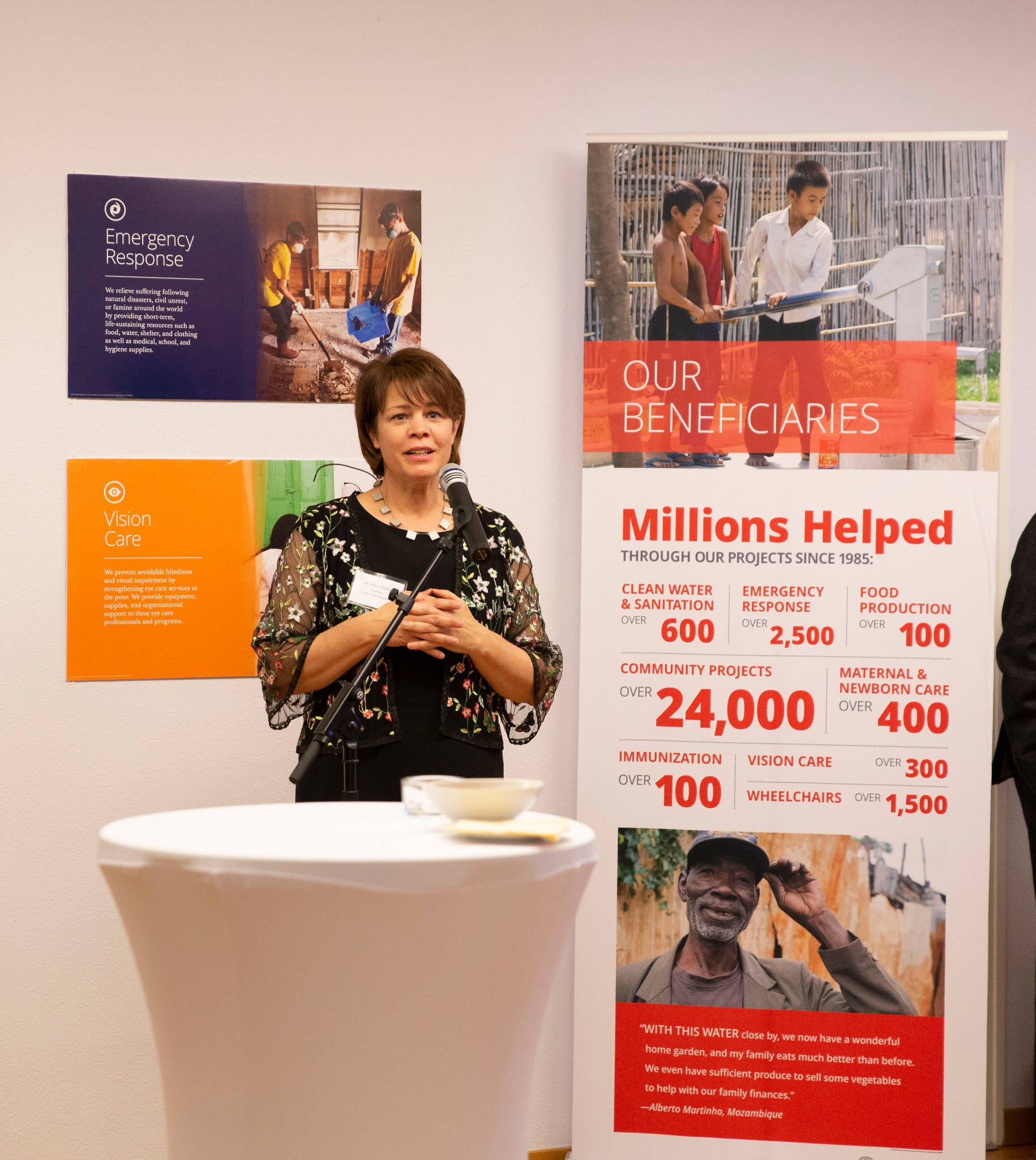 Sister Sharon Eubank, president of Latter-day Saint Charities, presents about the organization during a reception in Geneva, Switzerland, on Sept. 16, 2019.