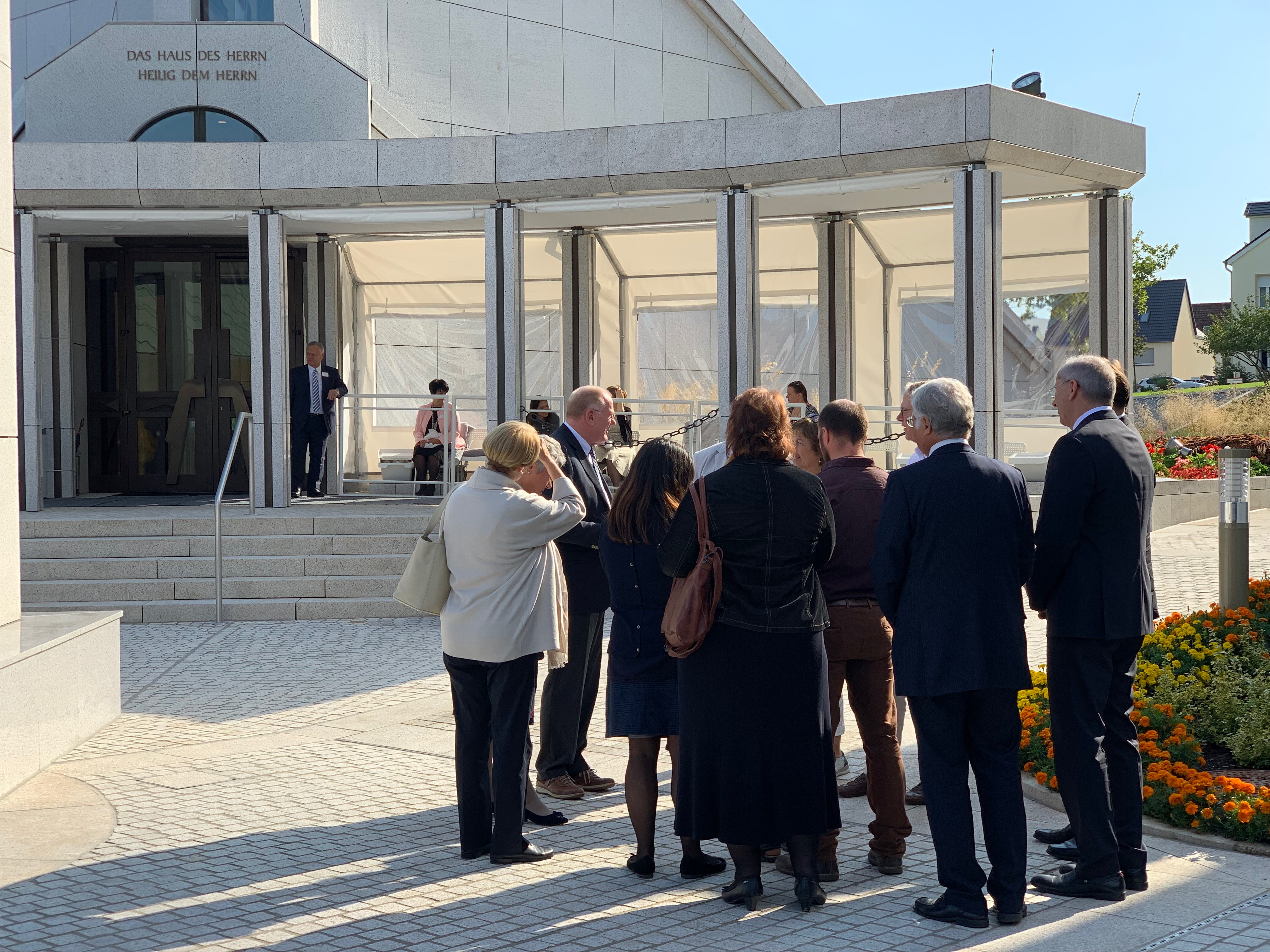 Media tour the Frankfurt Germany Temple on Sept. 9, 2019, in conjunction with the beginning of the public open house before the temple is rededicated.