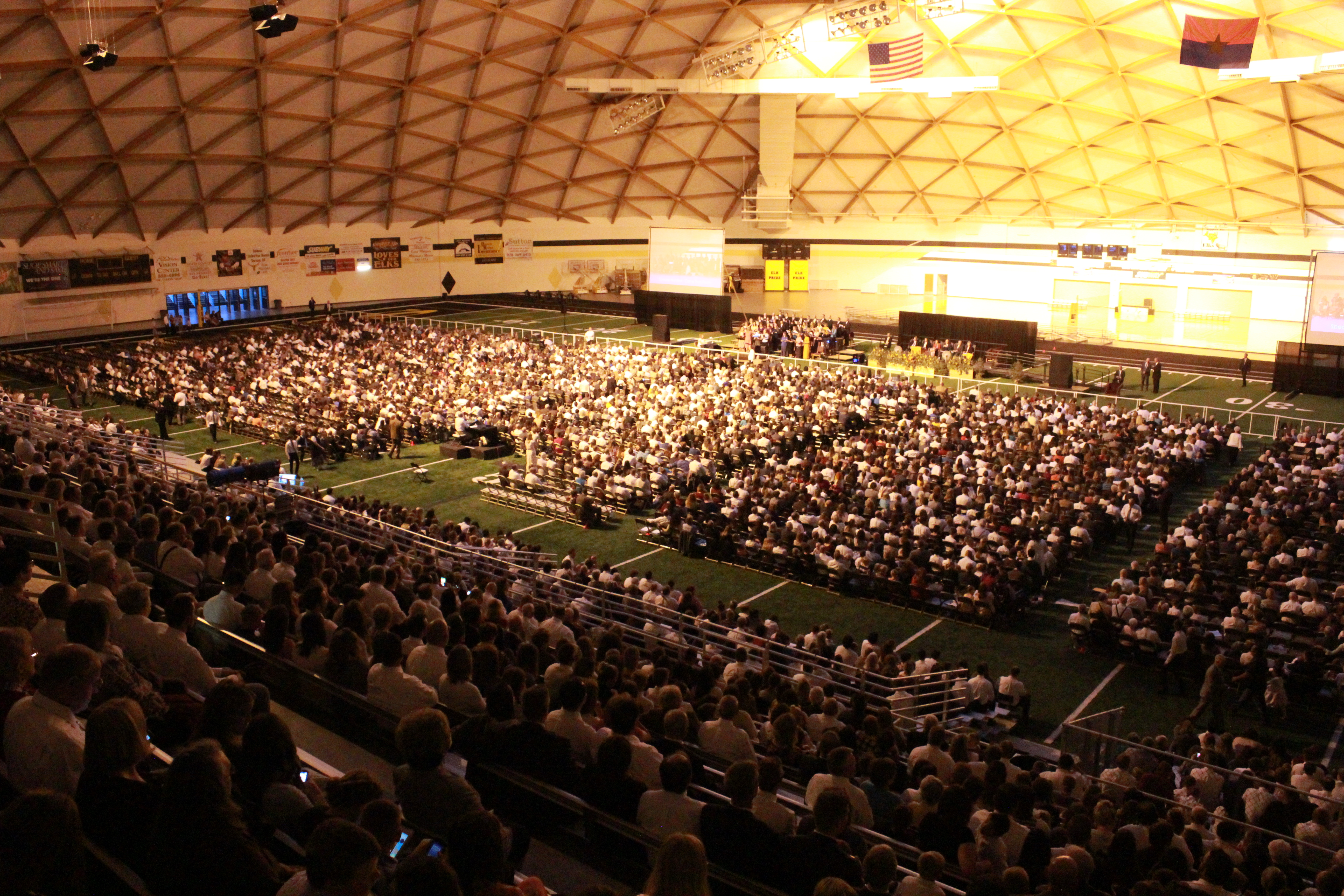Some 8,500 members attended a devotional in the Round Valley Dome in Eagar, Ariz. on Sept. 14, 2019.