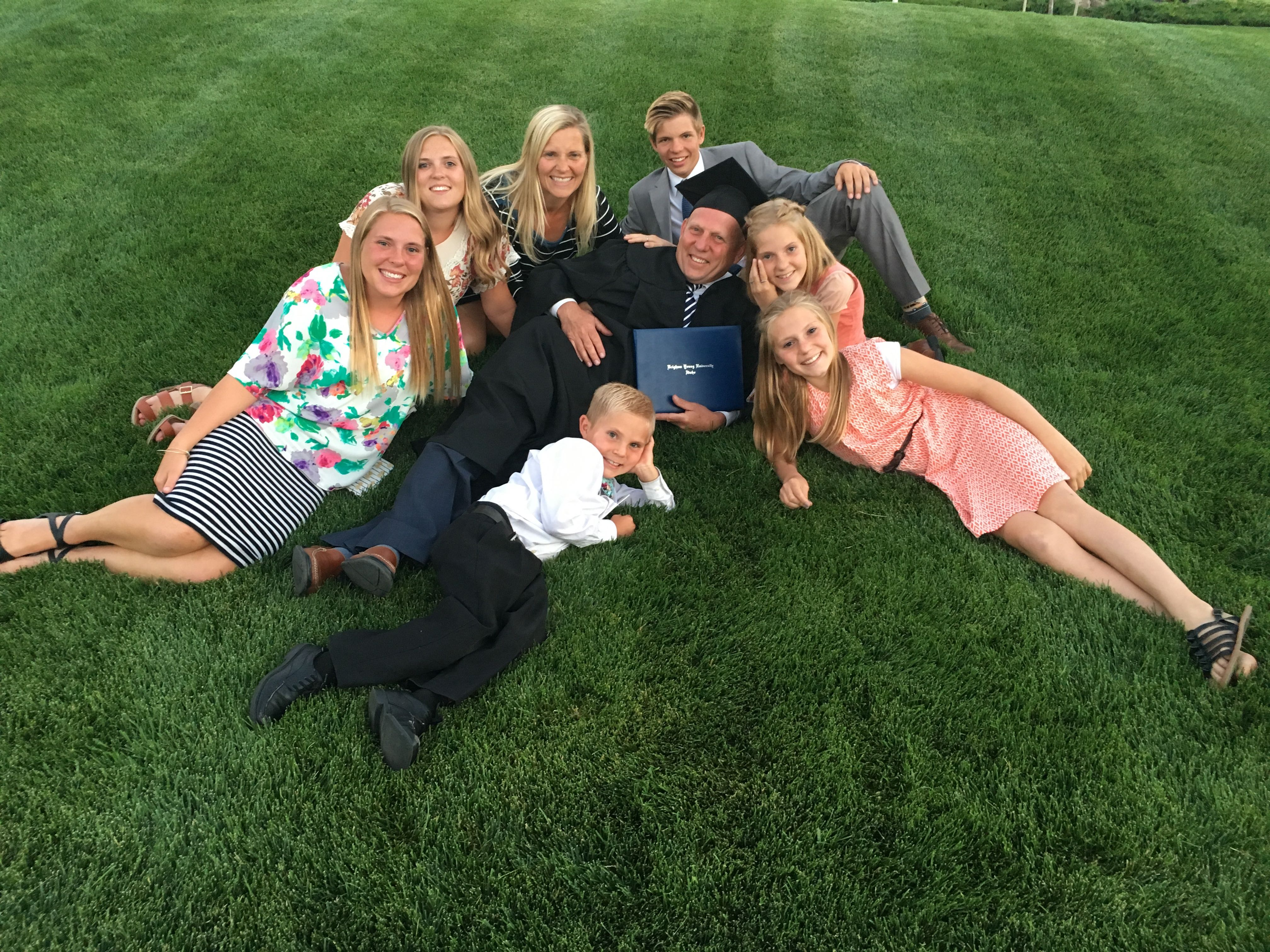 The Waldron family poses together after the graduation of Tom Waldron from BYU-Idaho in 2017.