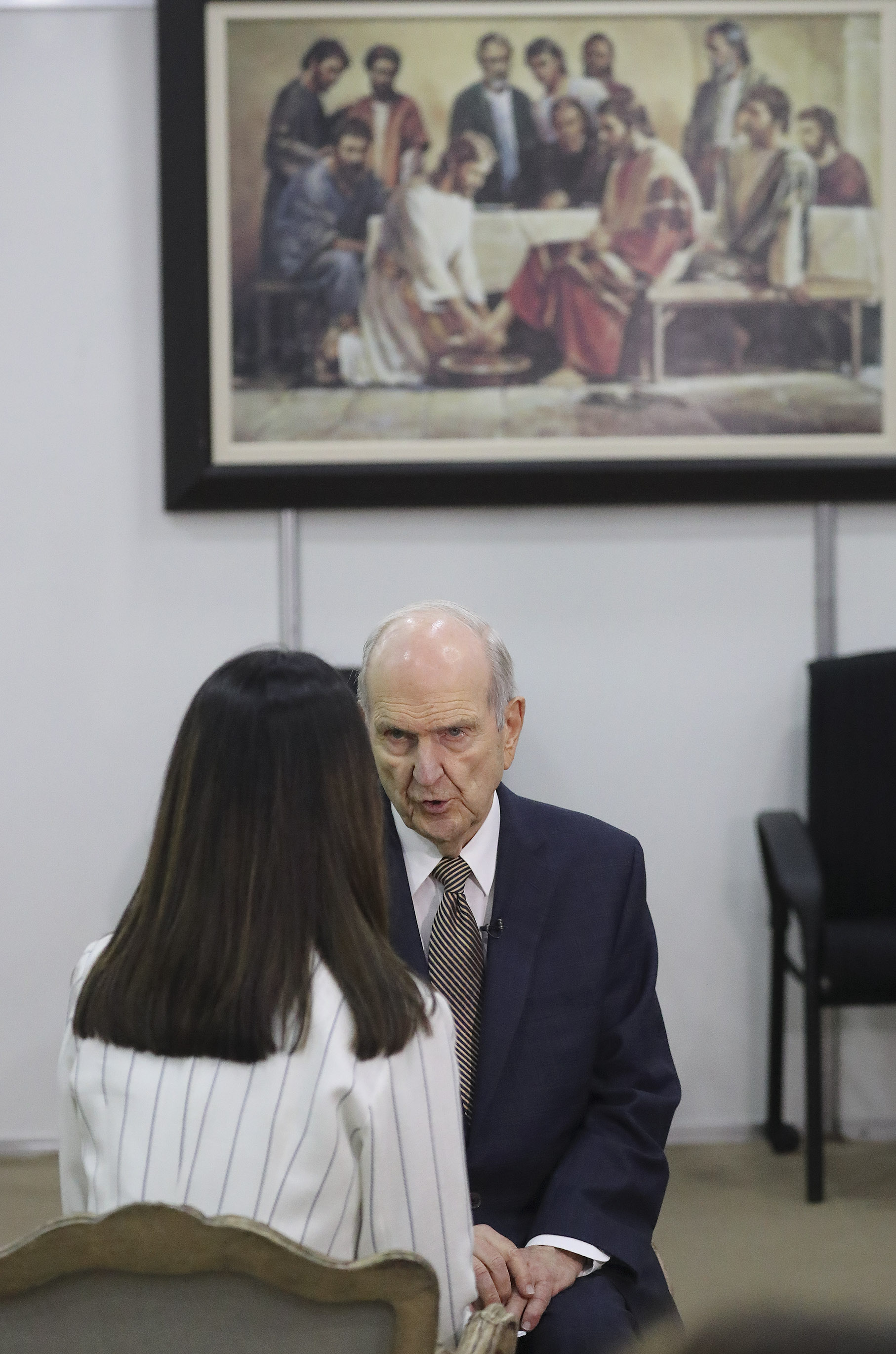 President Russell M. Nelson of The Church of Jesus Christ of Latter-day Saints is interviewed by TV journalist Isabela Tacaki prior to a devotional in Sao Paulo, Brazil, on Sunday, Sept. 1, 2019.