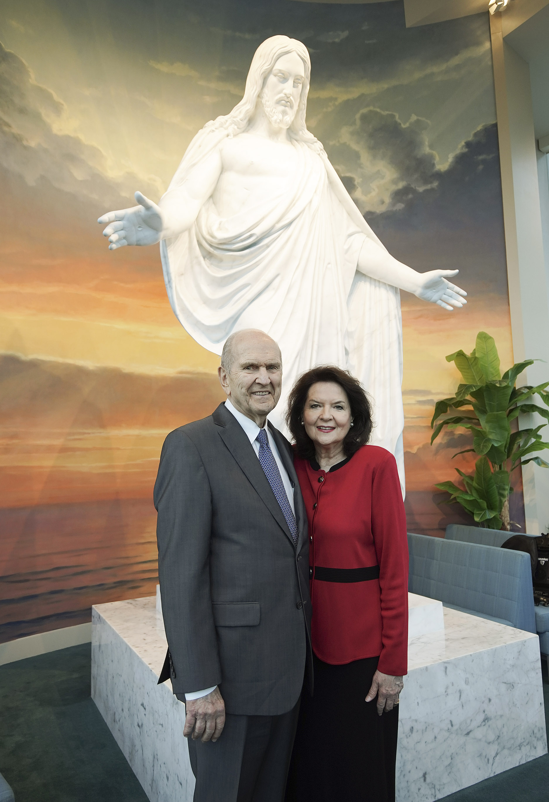 President Russell M. Nelson of The Church of Jesus Christ of Latter-day Saints and his wife, Sister Wendy Nelson, pose in the Sao Paulo Brazil Temple Visitors' Center in Sao Paulo, Brazil, on Aug. 31, 2019.