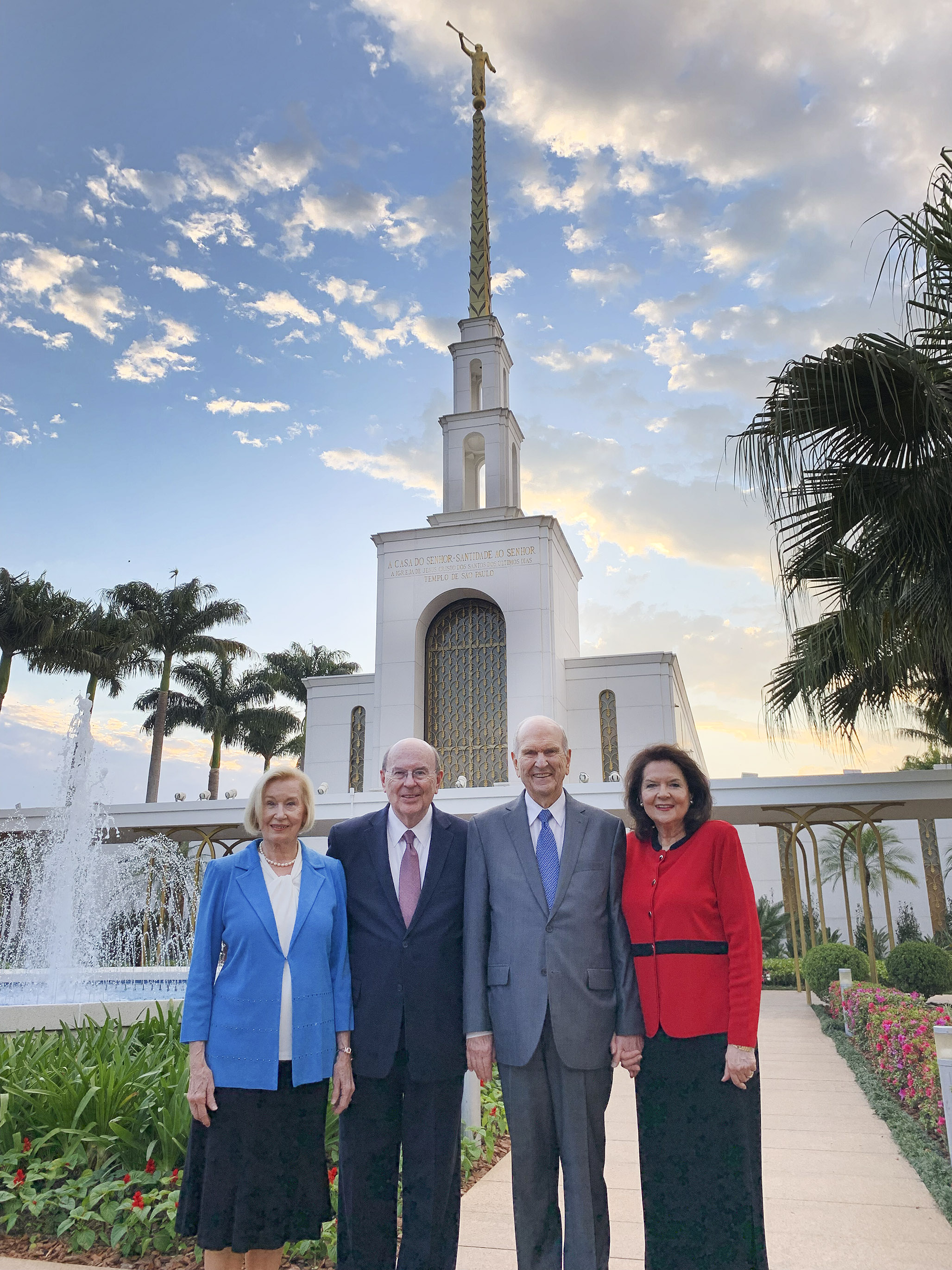 President Russell M. Nelson of The Church of Jesus Christ of Latter-day Saints and his wife, Sister Wendy Nelson, and Elder Quentin L. Cook of the Quorum of the Twelve Apostles and his wife, Sister Mary Cook, pose near the Sao Paulo Brazil Temple in Sao Paulo, Brazil, on Aug. 31, 2019.