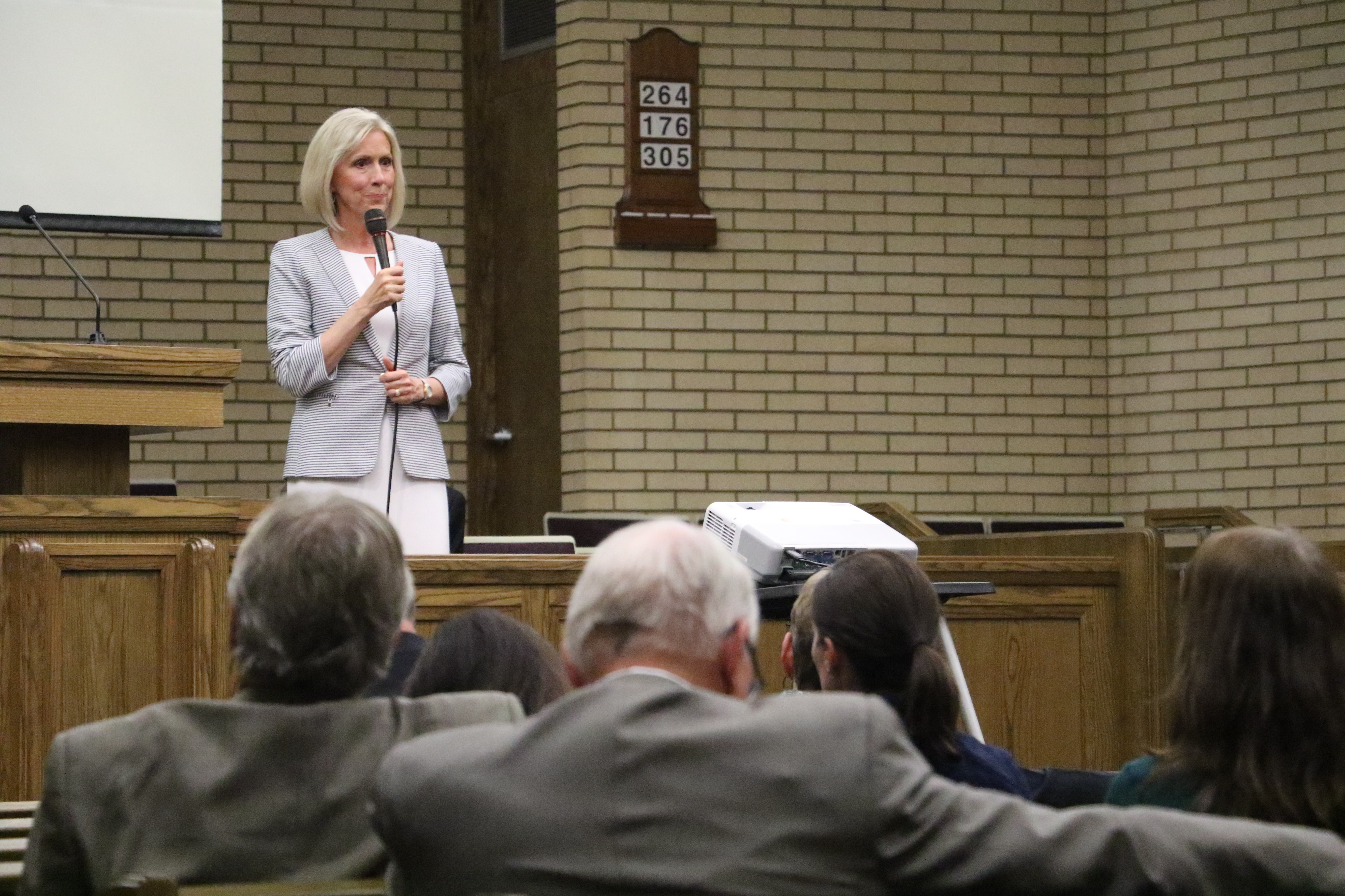 Sister Joy D. Jones speaks at a devotional on religious freedom and civic responsibility in Holladay, Utah, on Sept. 22, 2019