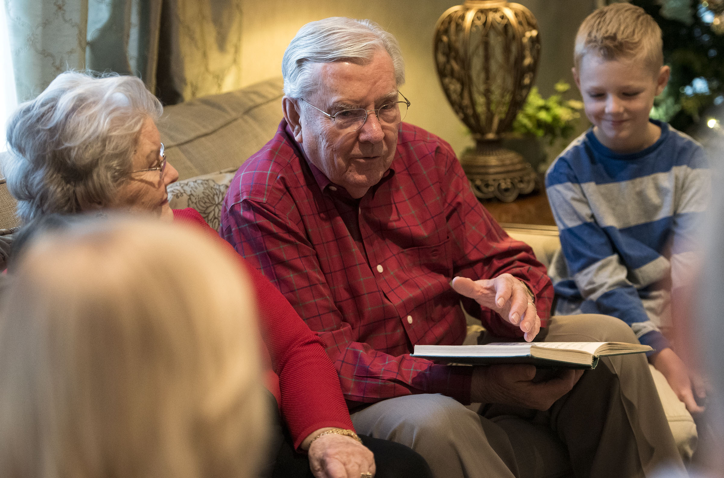 Then-Elder M. Russell Ballard tells a story to his family members during a council meeting in Salt Lake City on Dec. 26, 2016. He has been an energetic advocate of the council system in the Church stretching at least as far back as October 1993, when he talked on that subject in general conference for the first time.