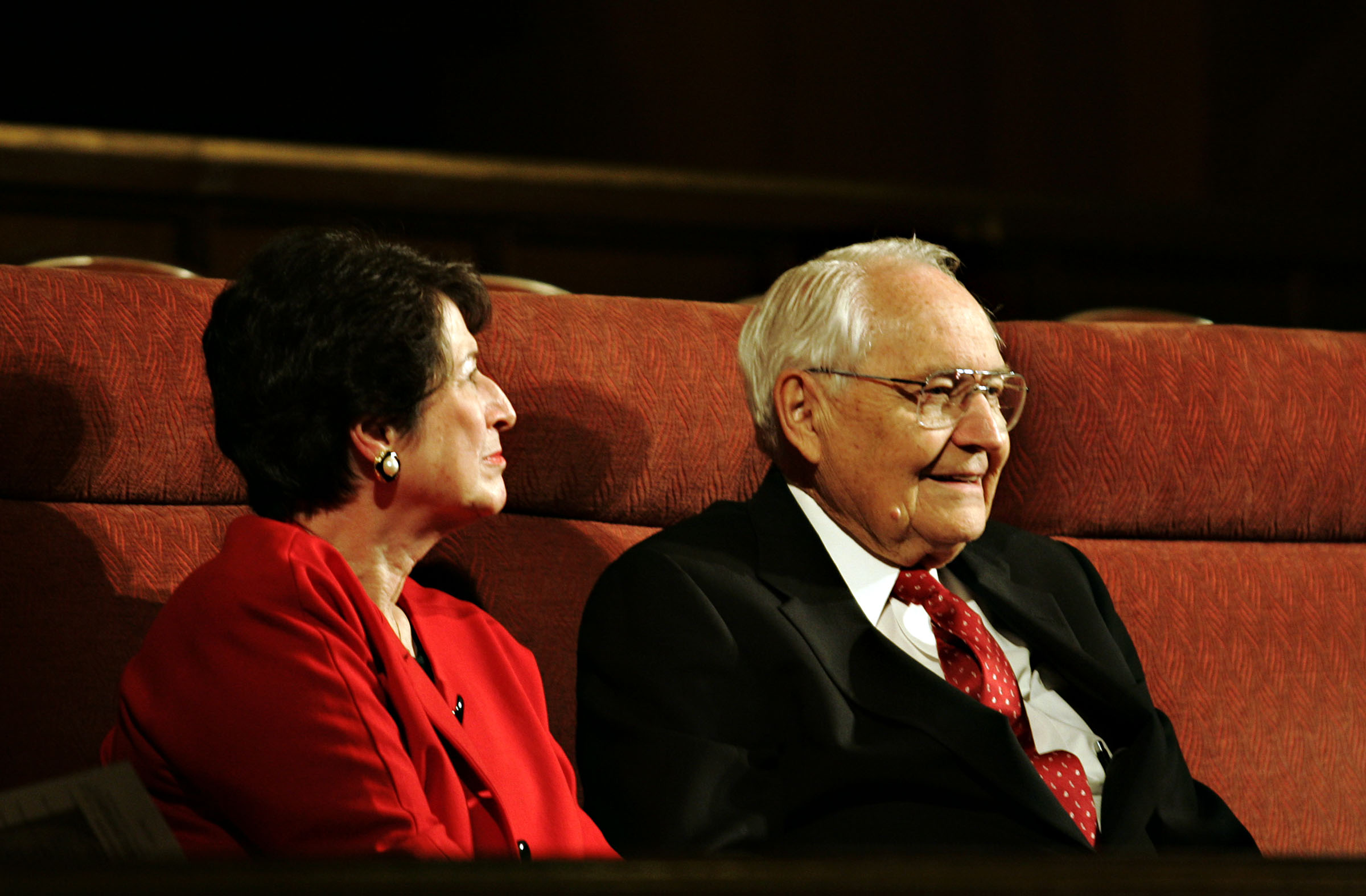 """Sister Barbara Perry and Elder L. Tom Perry of the Quorum of the Twelve Apostles listen to a string duet of """"O Divine Redeemer"""" during the 200th Birth Anniversary Commemoration of President John Taylor at the Assembly Hall on Temple Square in Salt Lake City on Thursday, November 6, 2008. Photo by Courtney Sargent, Deseret News"""