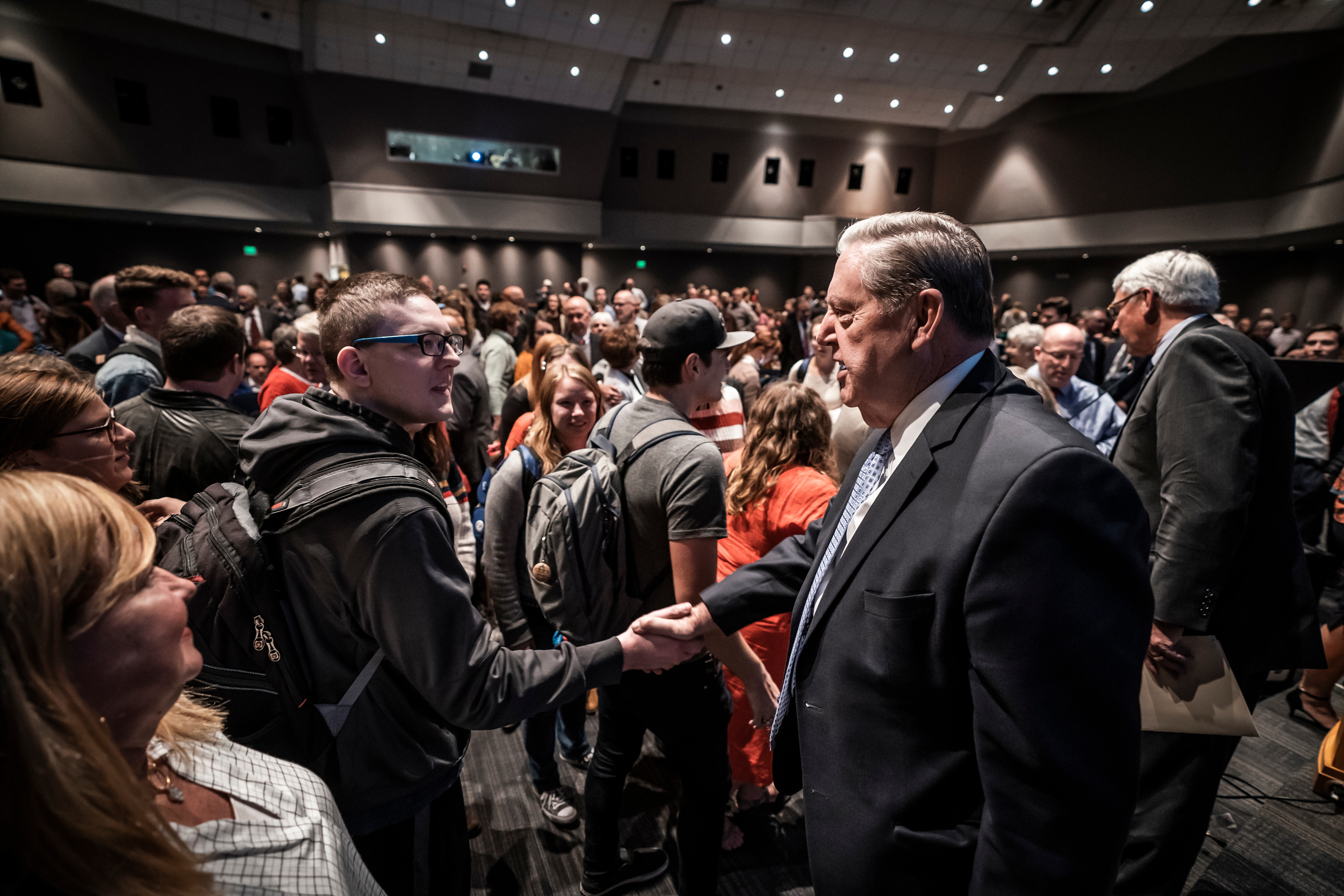 Elder Jeffrey R. Holland greets former BYU Jerusalem Center students during the 30th anniversary of the dedication of the BYU Jerusalem Center on Oct. 11, 2019, in the Joseph Smith Building Auditorium on the BYU campus in Provo, Utah.