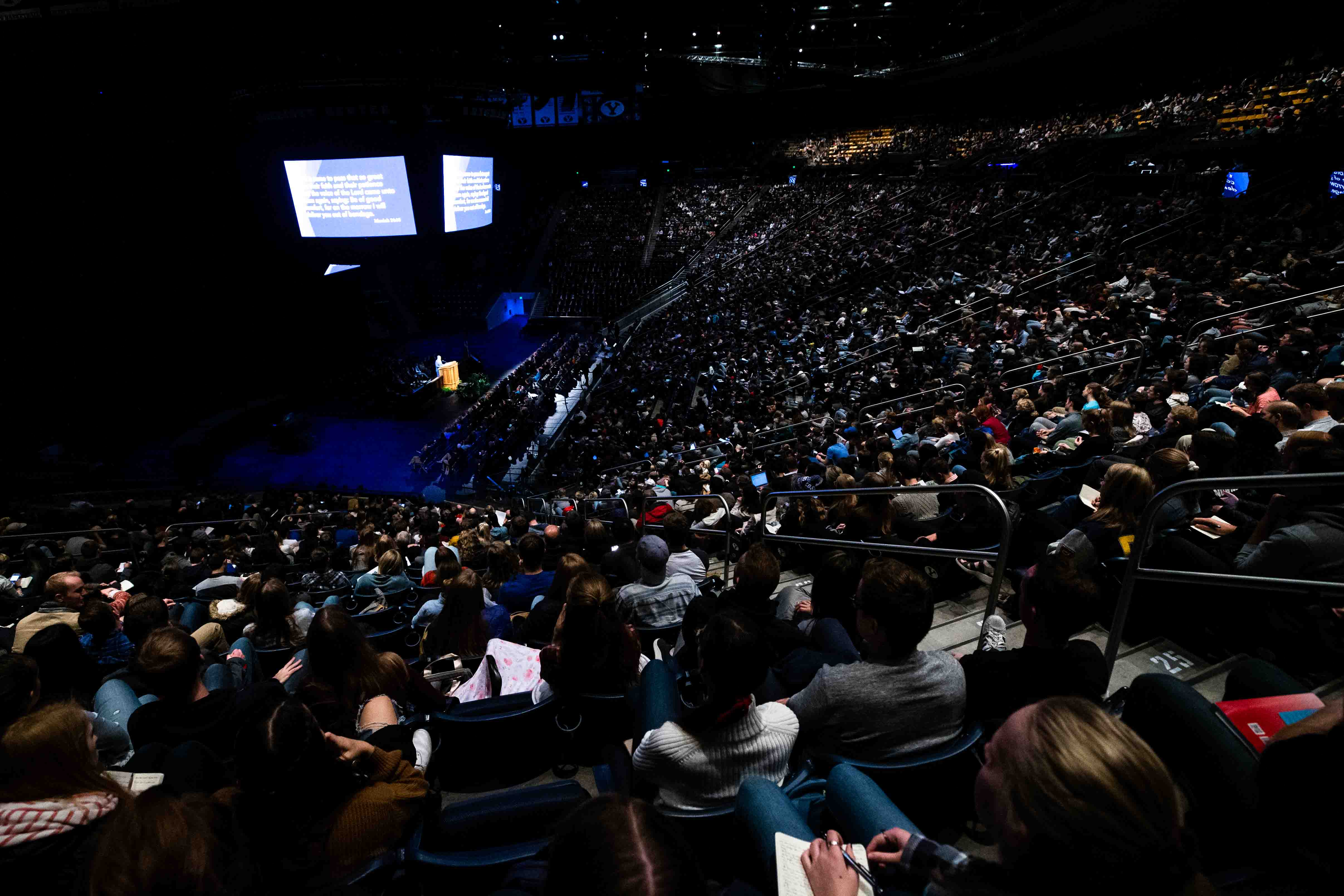Students gather in the Marriott Center on the campus of BYU in Provo, Utah, to listen to a devotional address by Brother Mark L. Pace on Oct. 29, 2019.