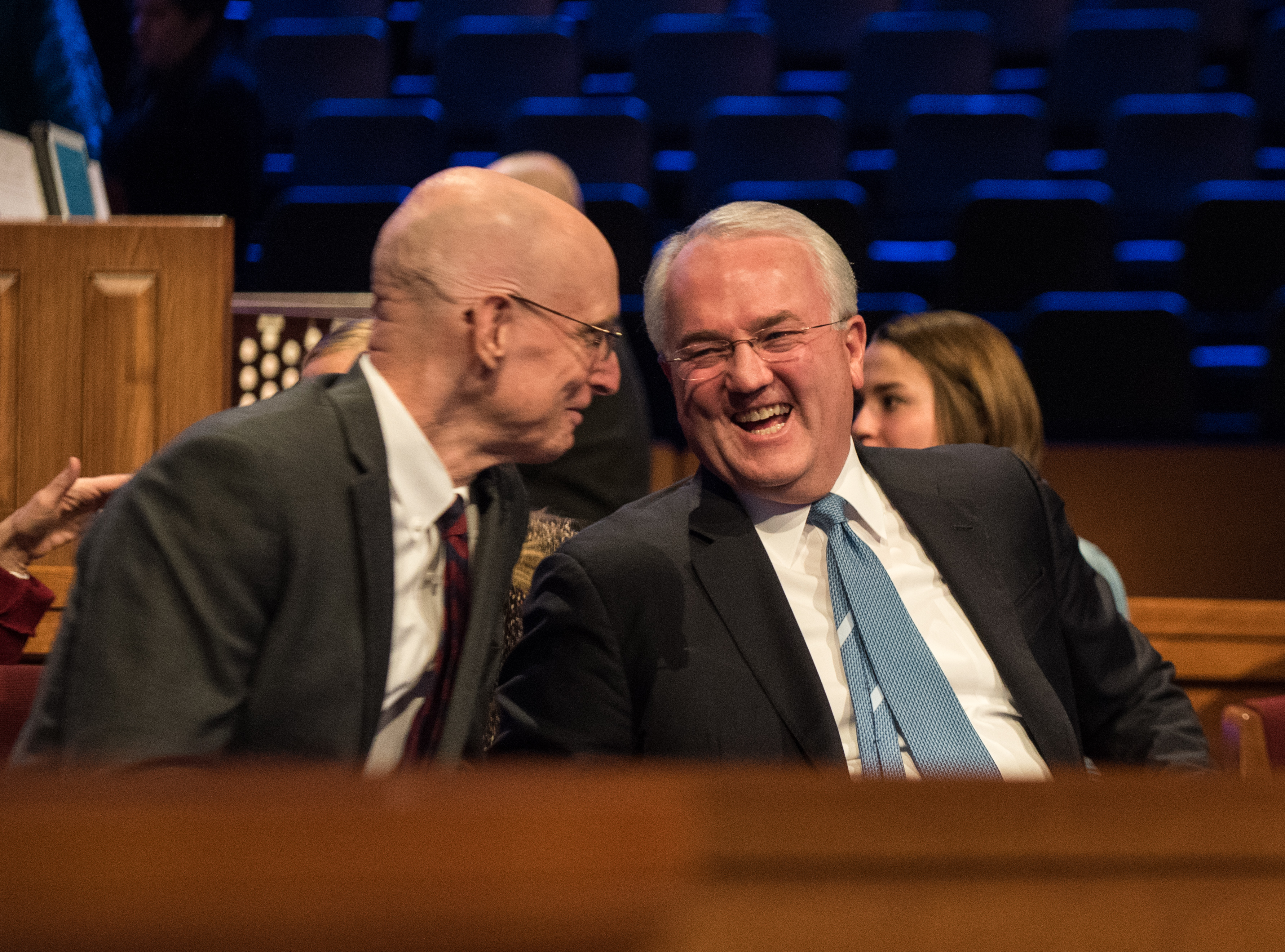 President Henry J. Eyring and Elder Jack N. Gerard interact with each other following a BYU-Idaho devotional on Oct. 29, 2019.