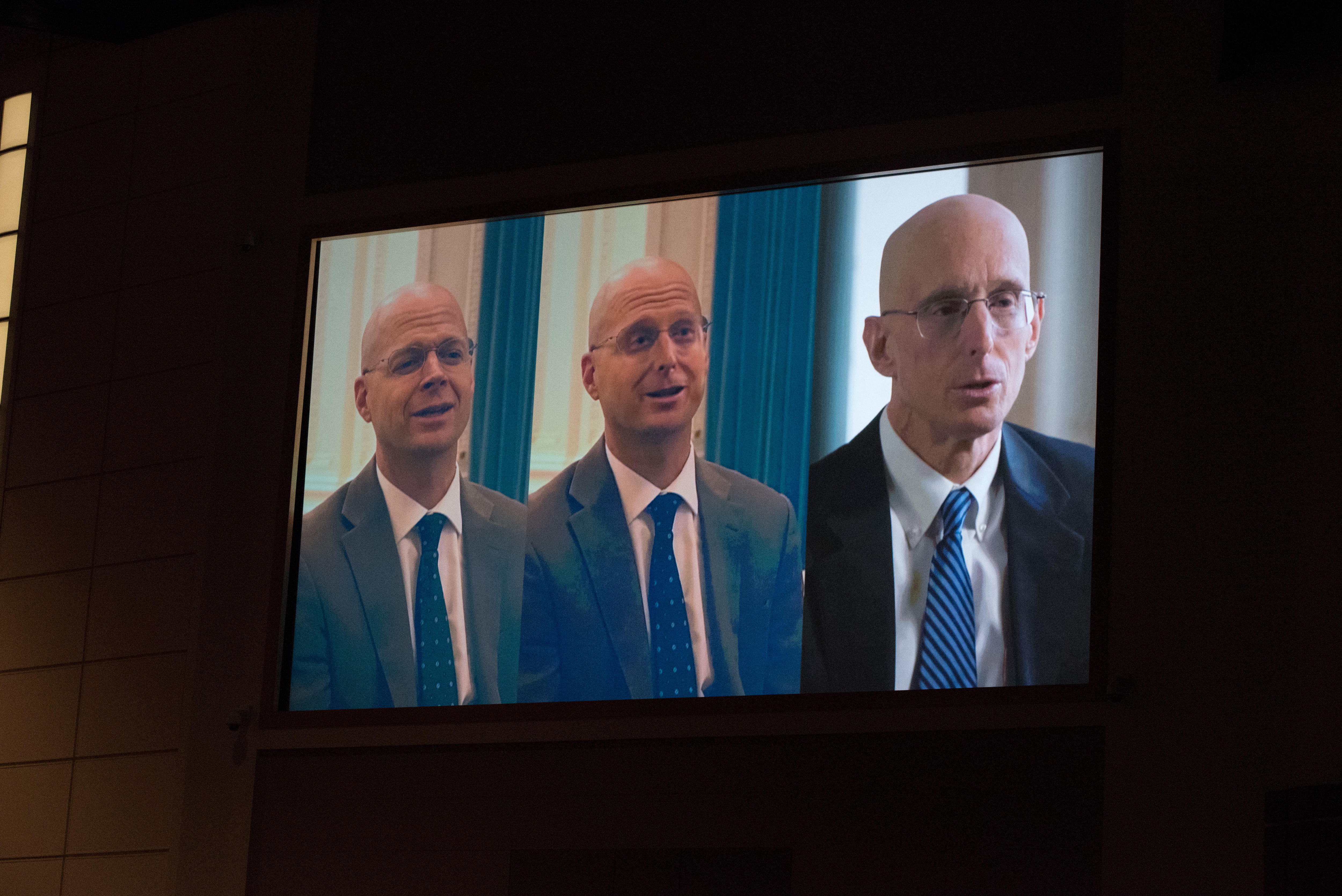 A video is shown to demonstrate how a deepfake video of President Henry J. Eyring was made, during an Oct. 29, 2019, BYU-Idaho devotional.