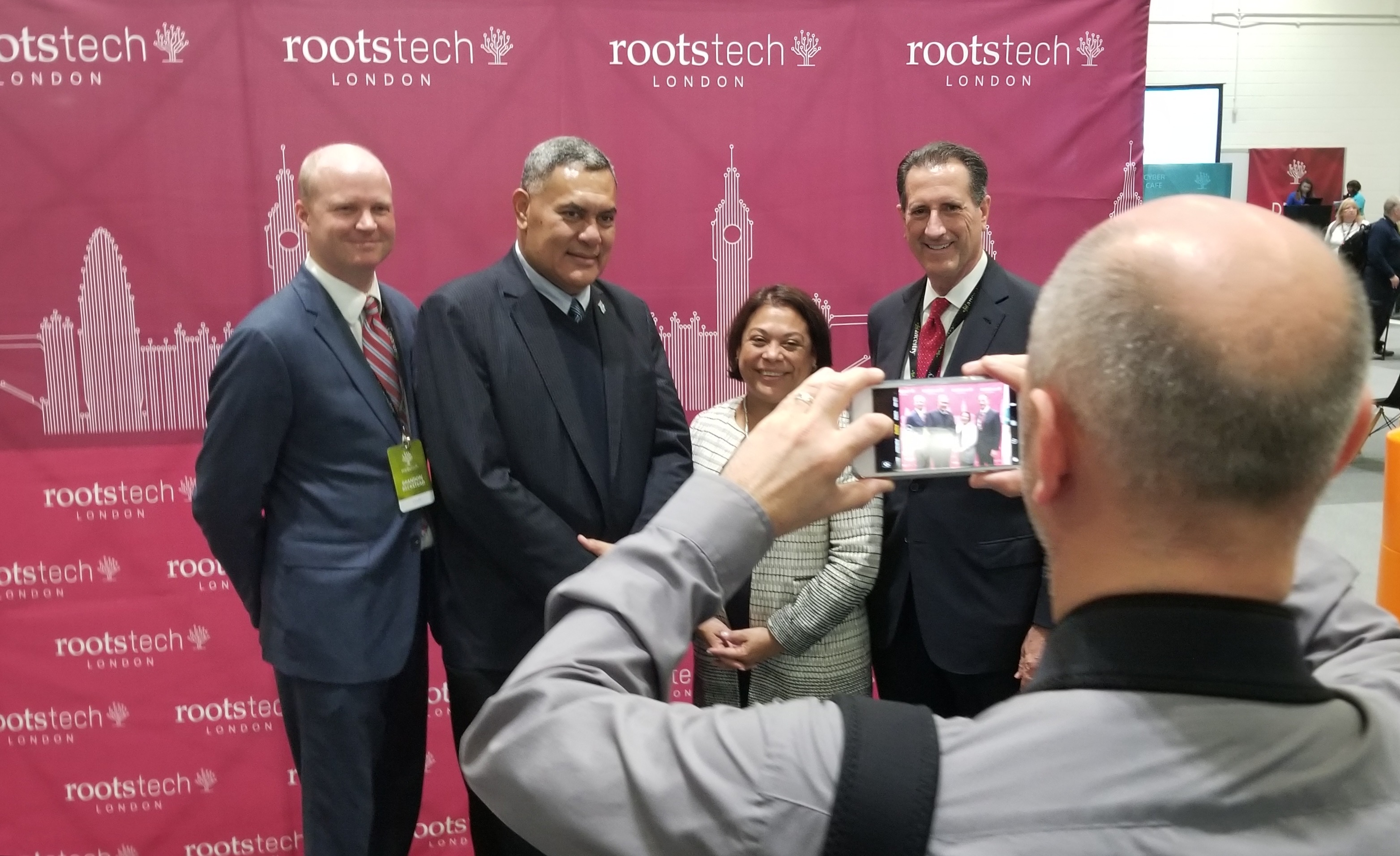 Guests are photographed in the VIP section of the RootsTech London exhibition hall during tours for ambassadors and records custodians on Oct. 24, 2019, in London.