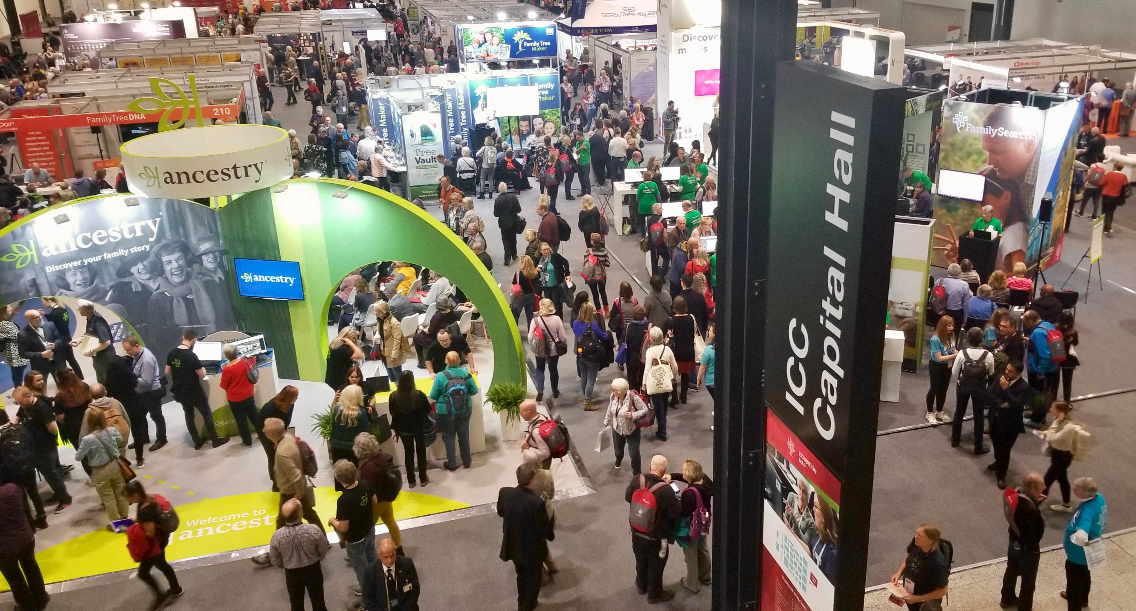 RootsTech London attendees fill the London ExCel exhibition hall on Thursday, Oct 24, 2019.