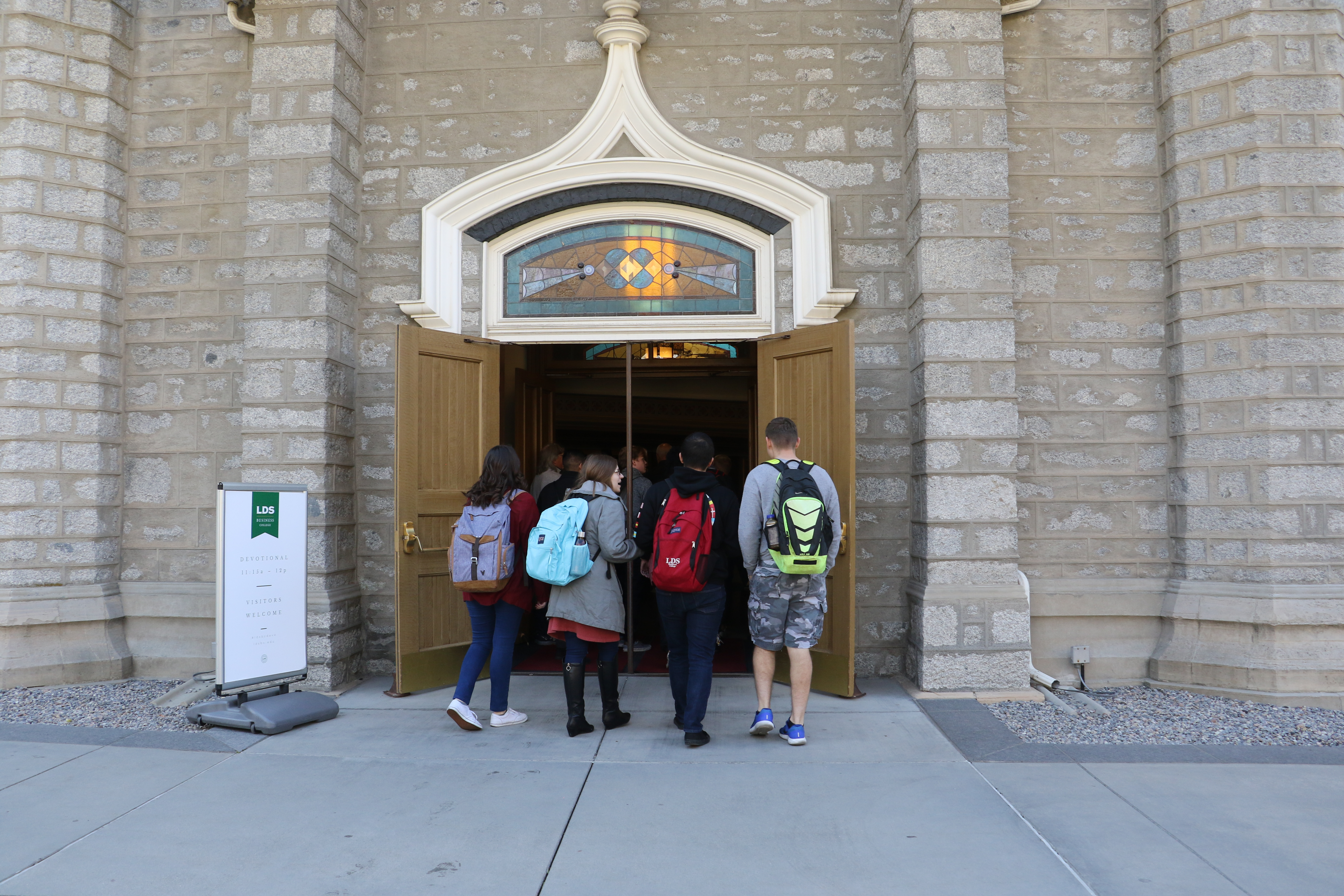 LDS Business College students enter the Assembly Hall on Temple Square for a devotional on Oct. 14, 2019.