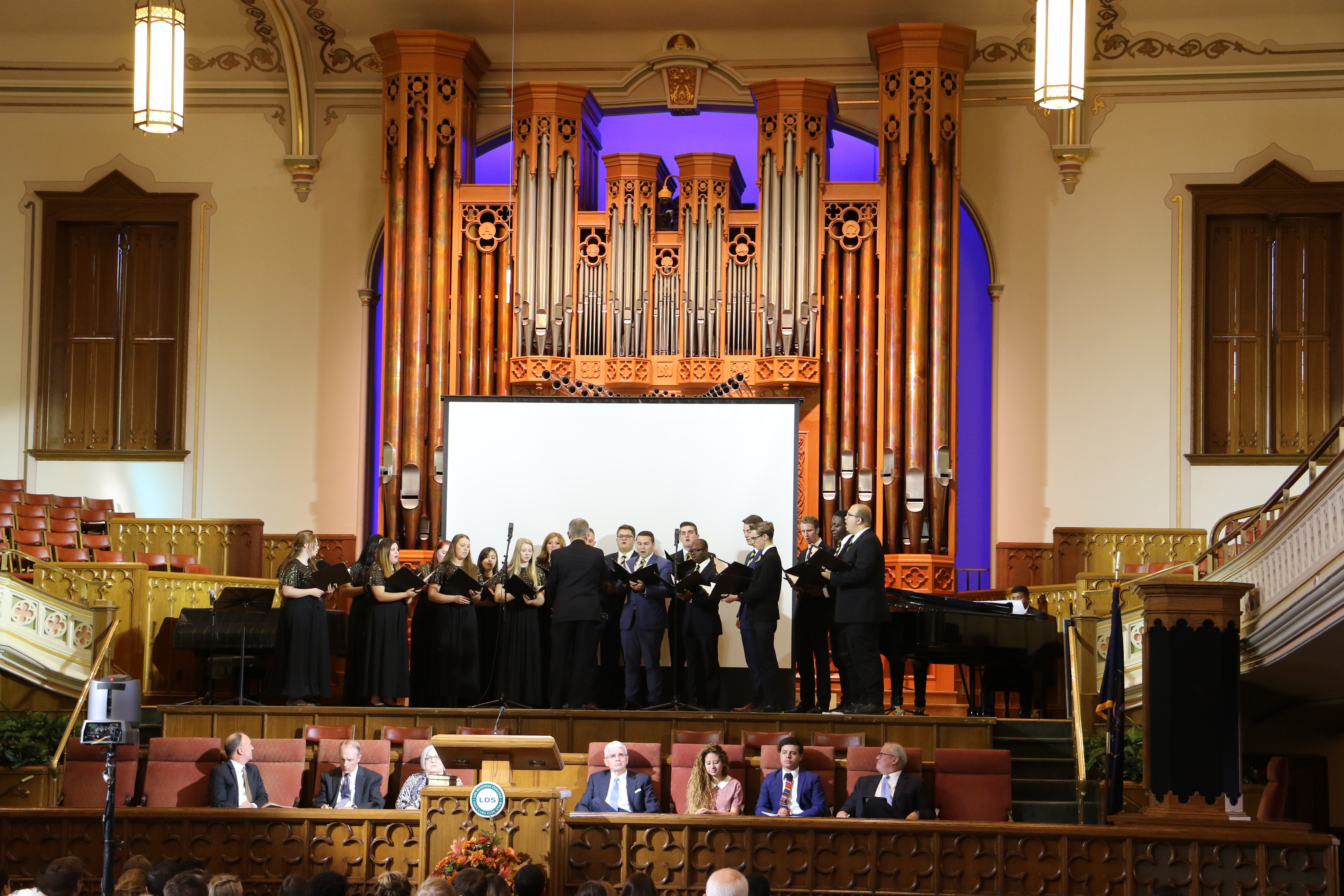 The LDS Business College Singers perform during a devotional held in the Assembly Hall on Temple Square on Oct. 14, 2019.