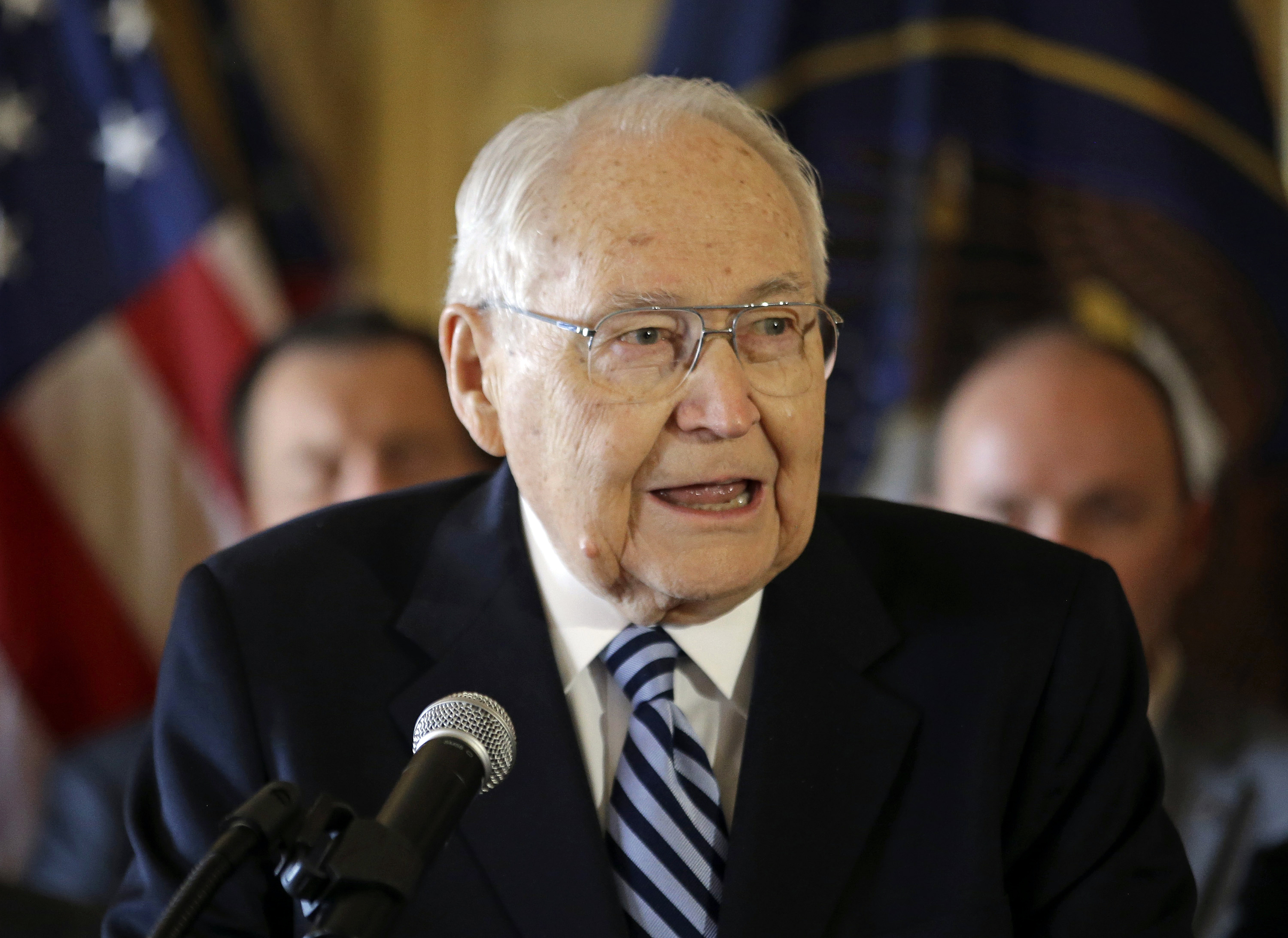 In this March 4, 2015, file photo, Elder L. Tom Perry, the second-most senior member of the high-level Mormon governing body called the Quorum of the Twelve Apostles, speaks during a news conference at the Utah State Capitol in Salt Lake City.