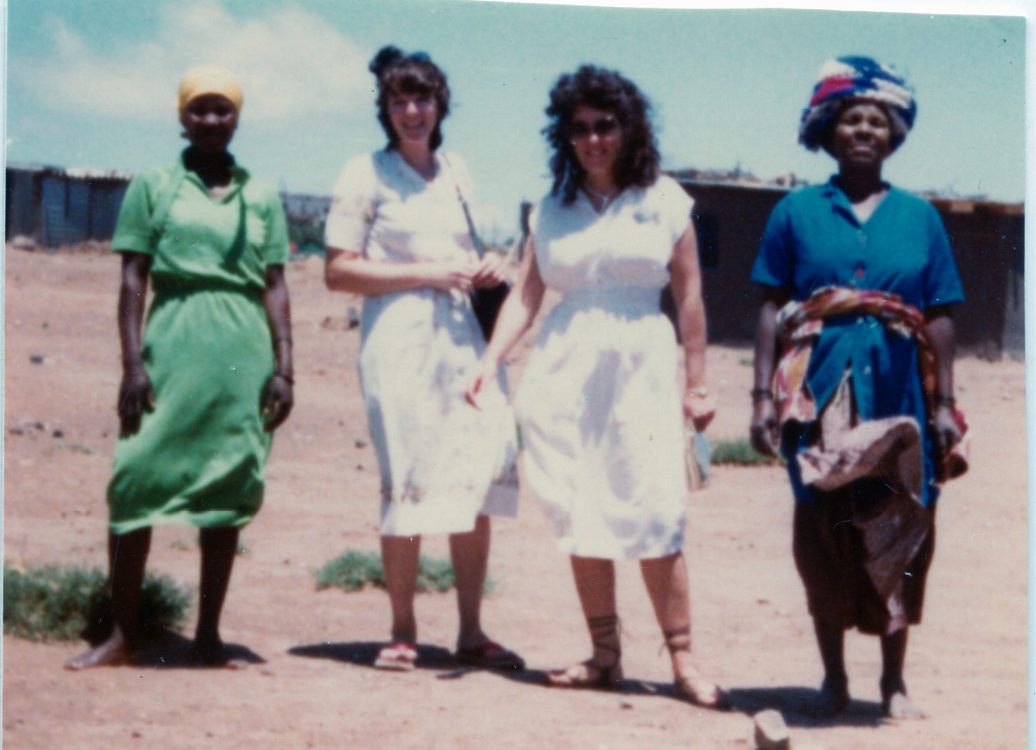 Sister Judy Brummer as a missionary in Queenstown, South Africa, circa 1980. A native of South Africa, Brummer, second from the right, was the first Latter-day Saint missionary fluent in the Xhosa language. (Photograph in family possession, courtesy of Judy Brummer.)