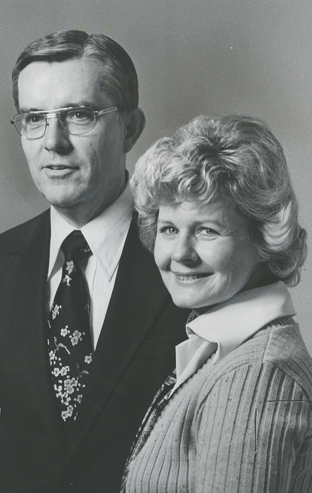 Elder M. Russell Ballard and his wife, Sister Barbara Ballard, pose after his new calling to serve in the First Quorum of the Seventy in April 1976.