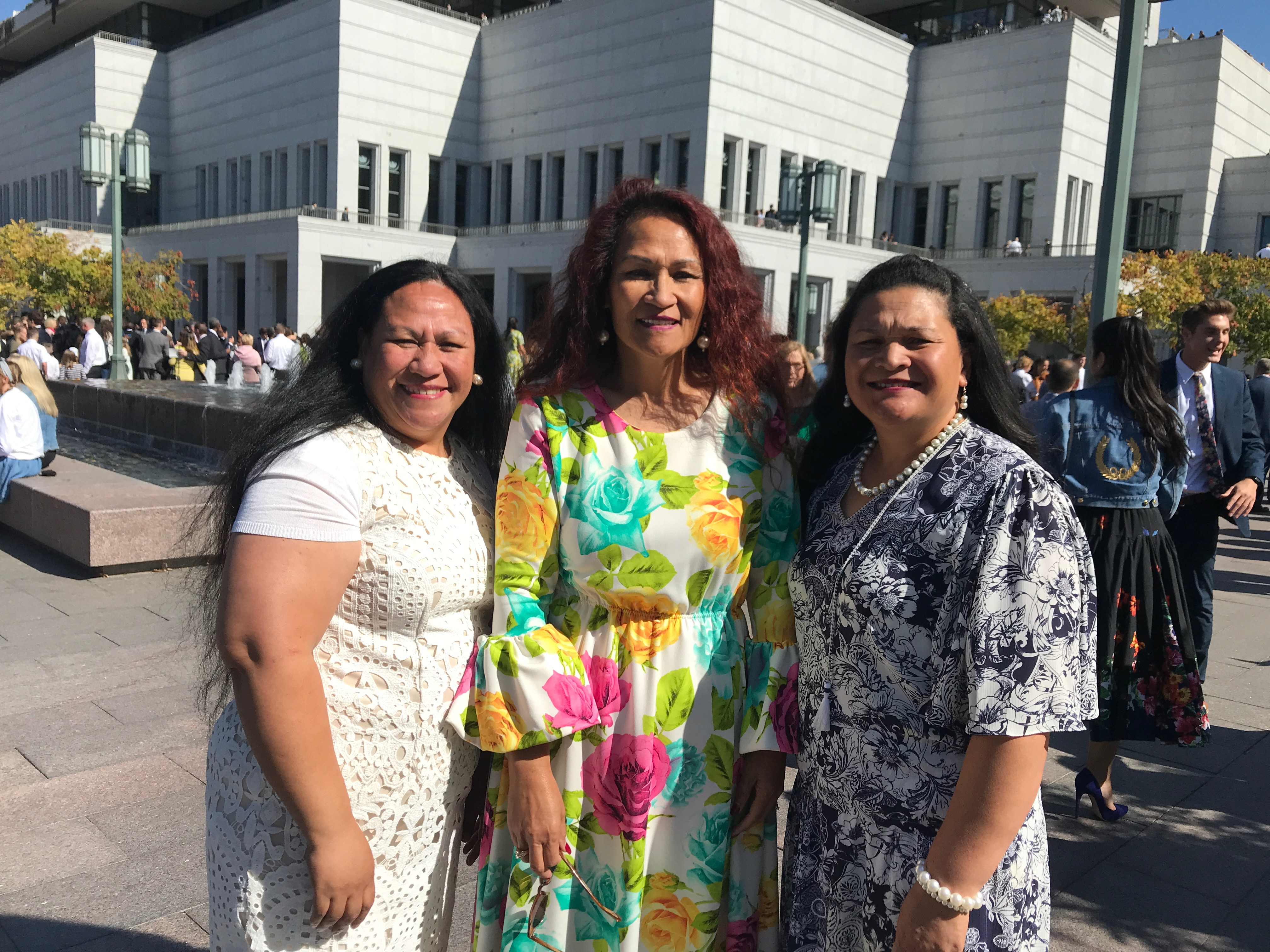 Eva Lokotui, left, from South, Jordan, Utah, said she felt touched by President Nelson's message about humanitarian work during the Sunday morning session of general conference on Oct. 6, 2019.