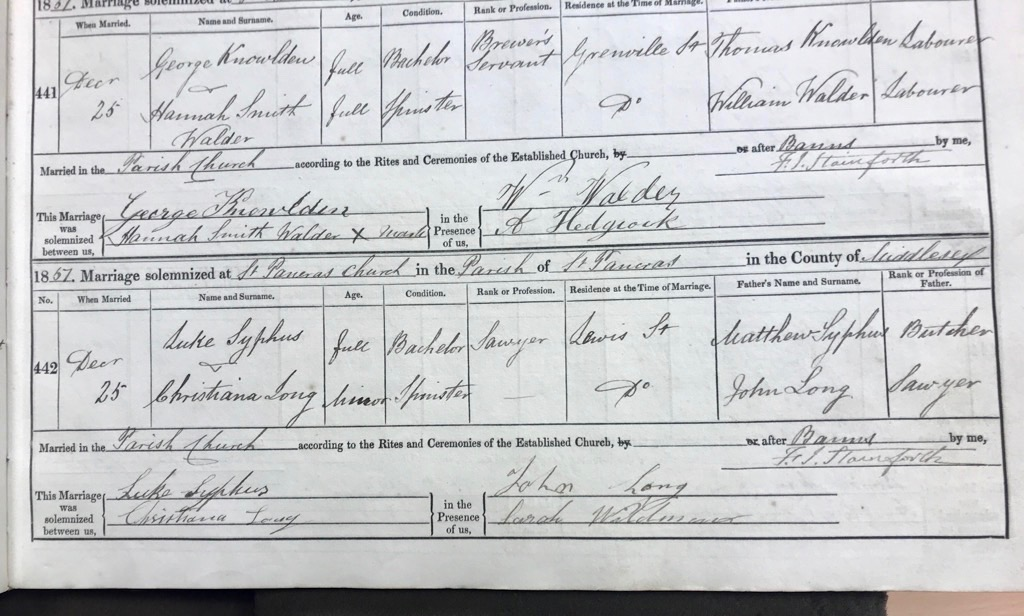 A close-up of the marriage record of Elder David A Bender's great-great-great-grandparents, Luke Syphus and Christiana Long, from the St. Pancras Parish's record book in the City of London Archives on Oct. 24, 2019.