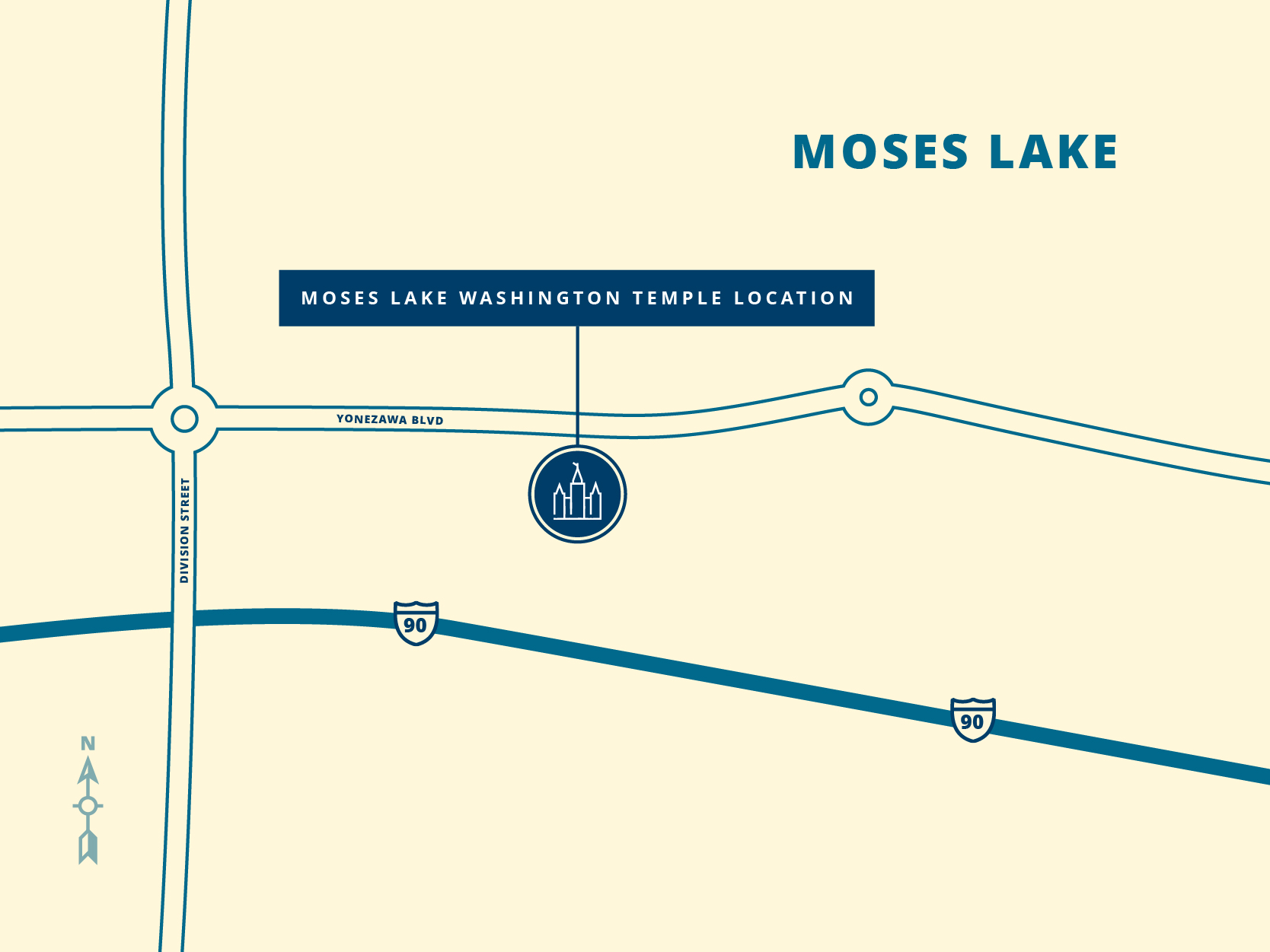 Site map for the Moses Lake Washington Temple