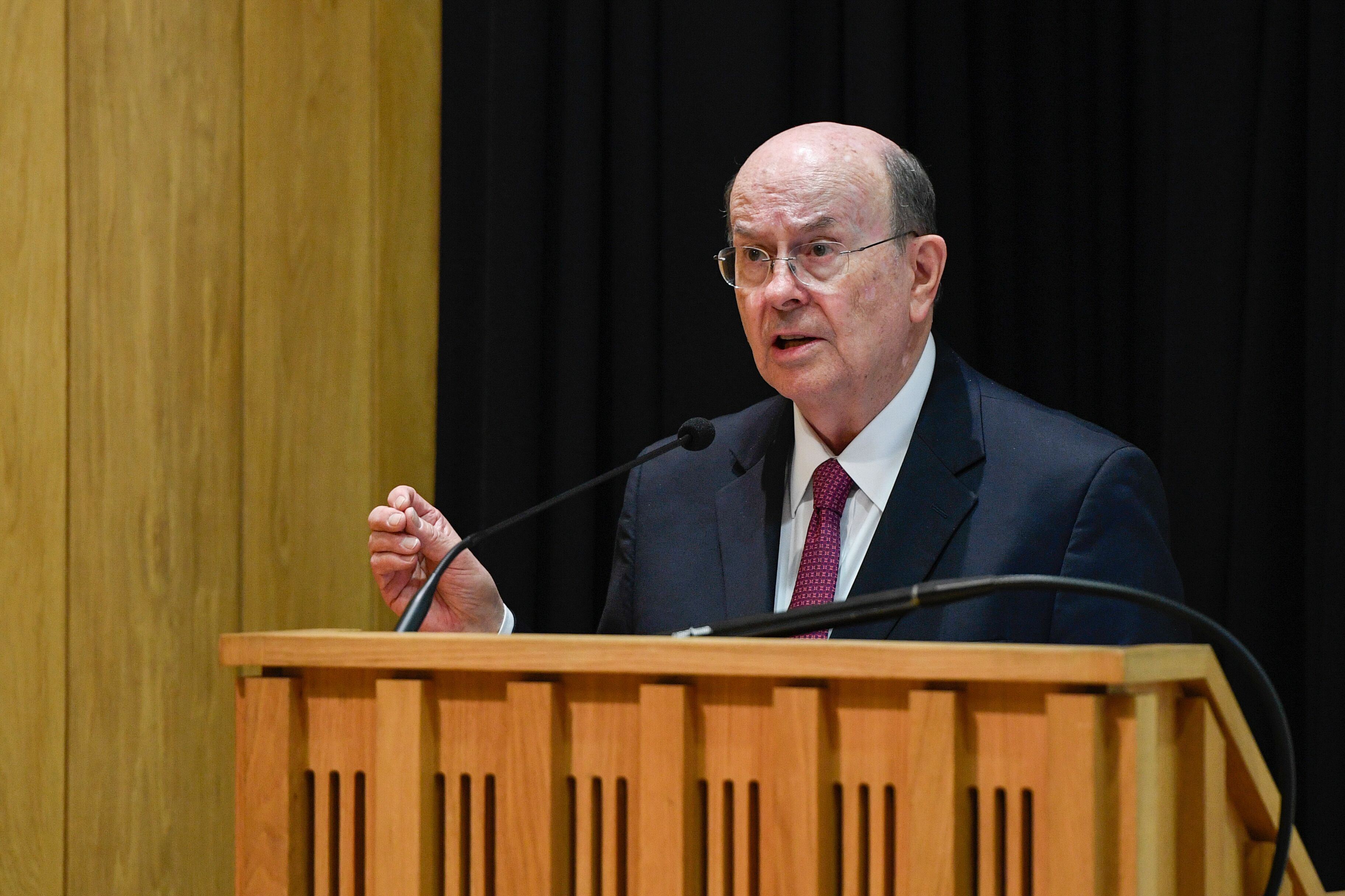 Elder Quentin L. Cook of the Quorum of the Twelve Apostles, addresses students, faculty, staff and guests at Pembroke College at the University of Oxford in Oxford, England, on Oct. 23, 2019.