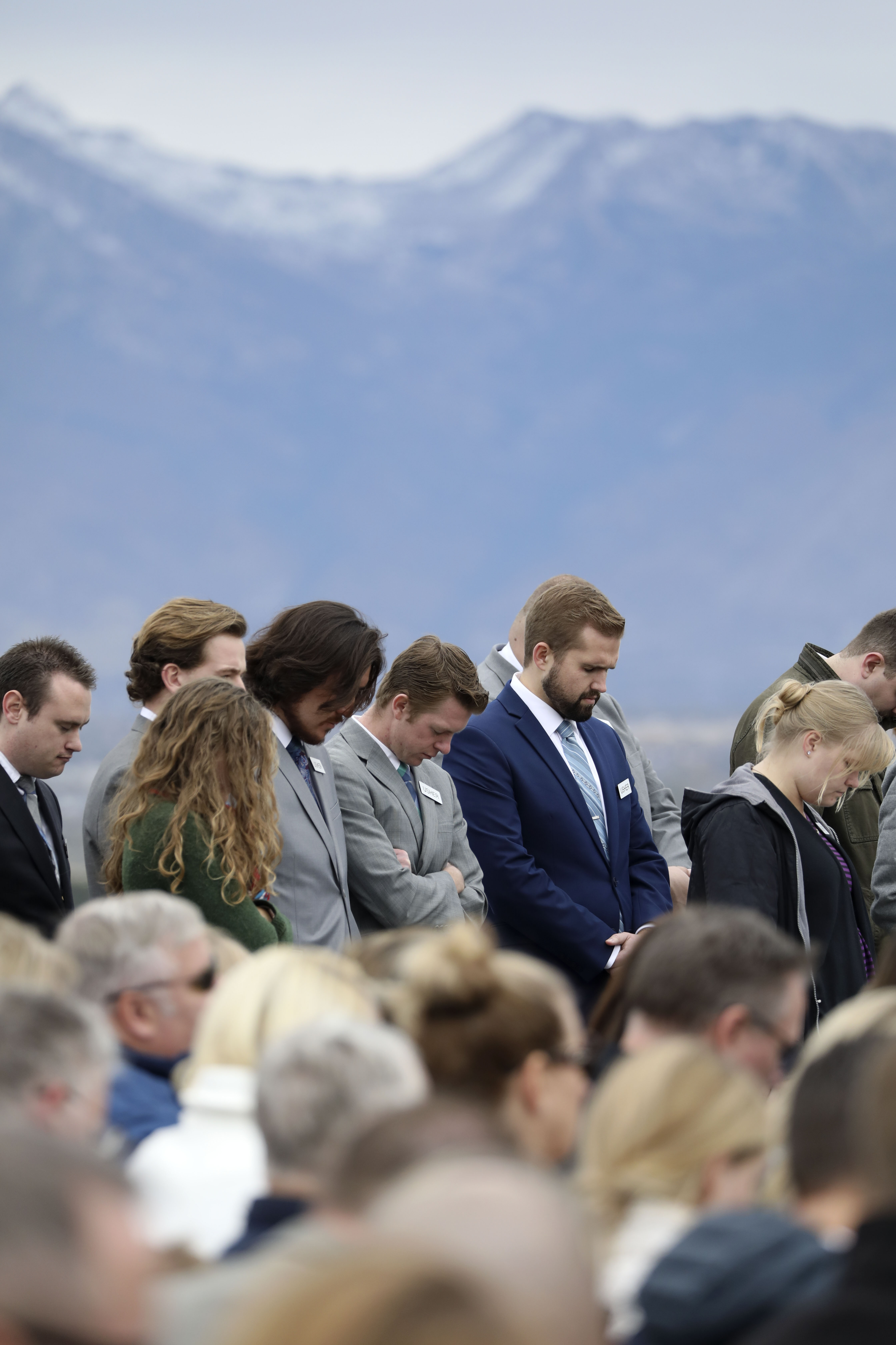 Latter-day Saints pray during the groundbreaking ceremony for the Saratoga Springs Utah Temple on Saturday, Oct. 19, 2019.
