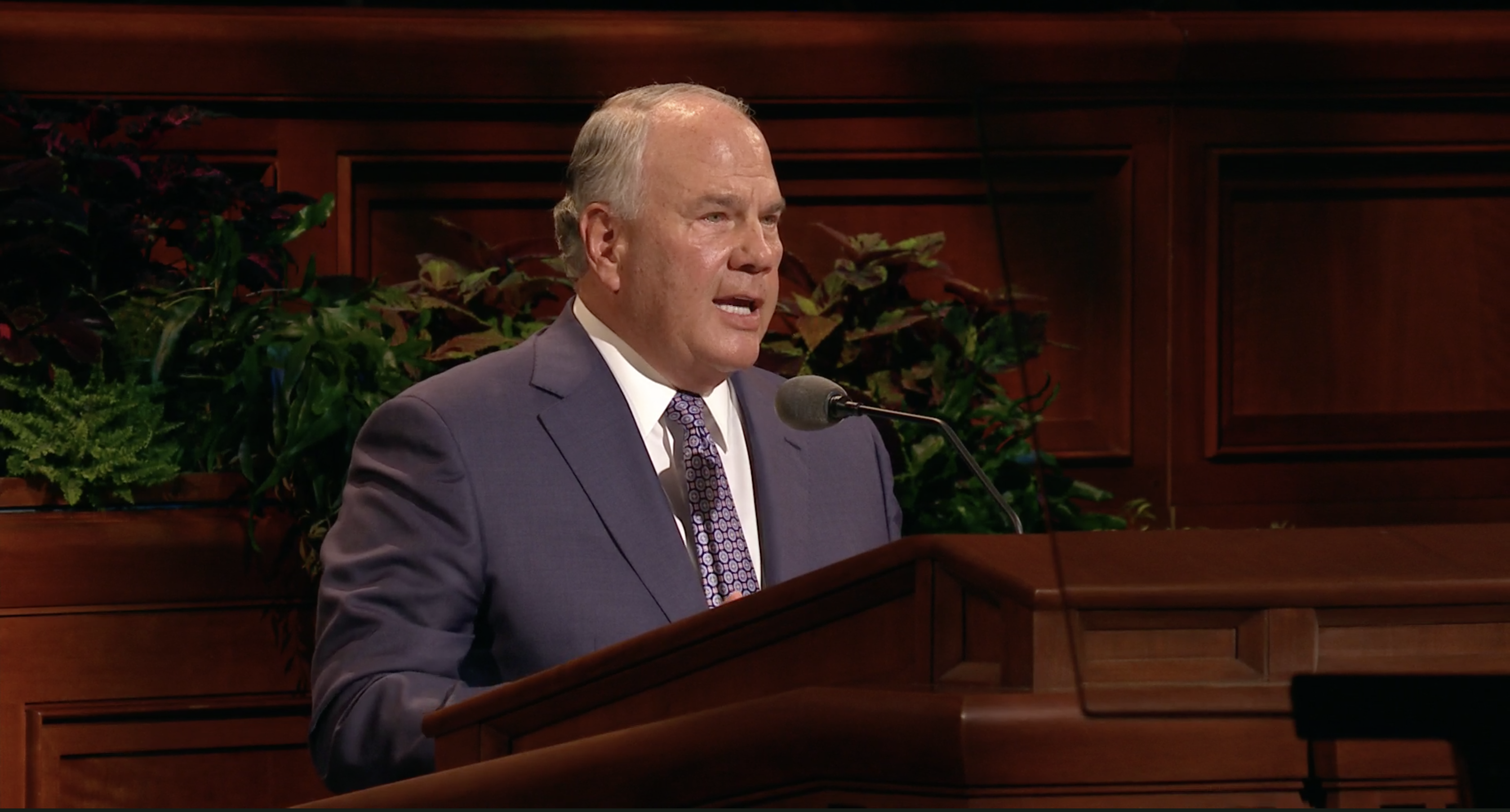 Elder Ronald A. Rasband of the Quorum of the Twelve Apostles speaks during the Saturday afternoon session in the 189th Semiannual General Conference of the Church on Oct. 5, 2019.