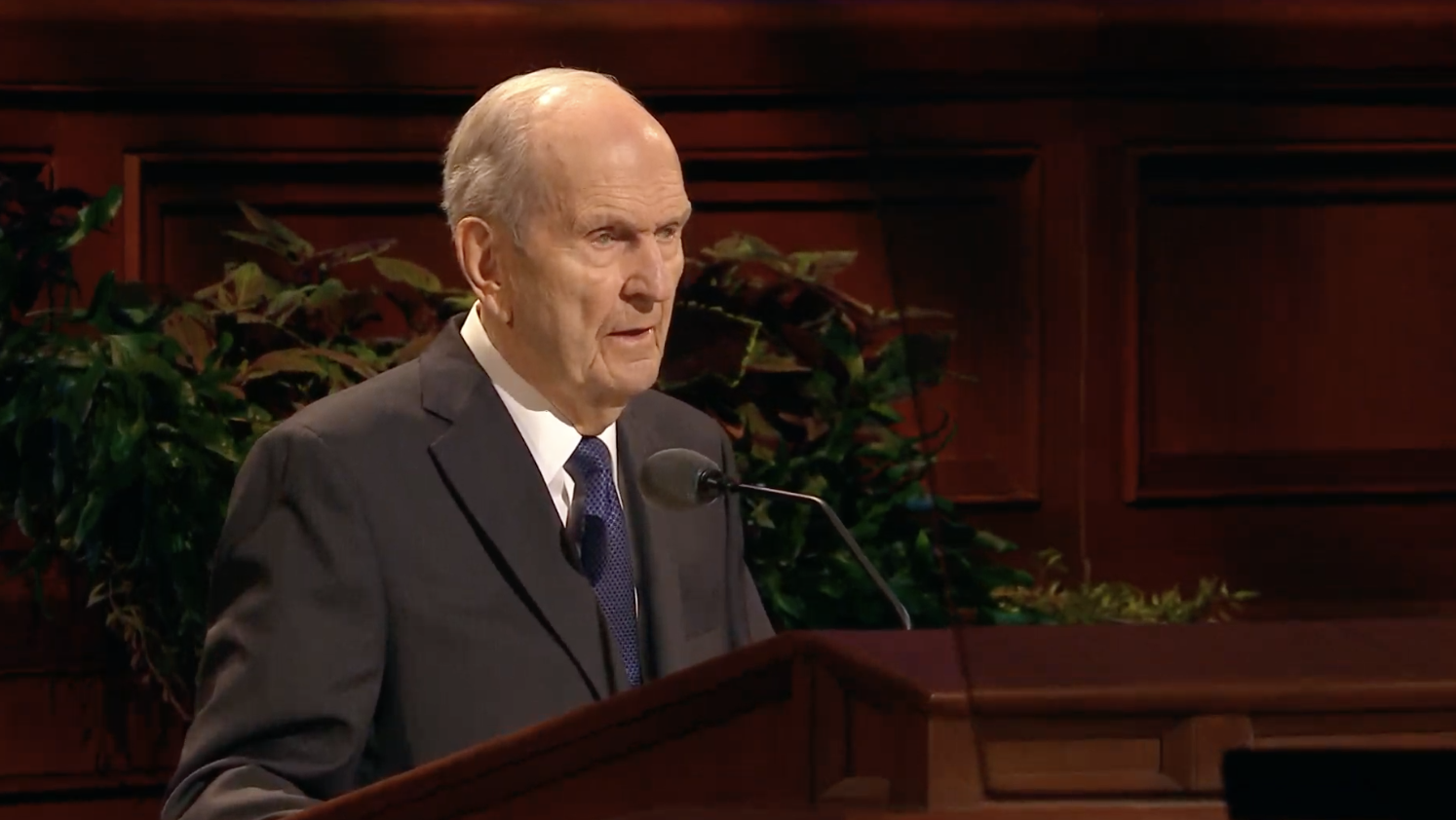 President Russell M. Nelson, president of the Church, speaks during the Sunday morning session in the 189th Semiannual General Conference of the Church on Oct. 6, 2019.