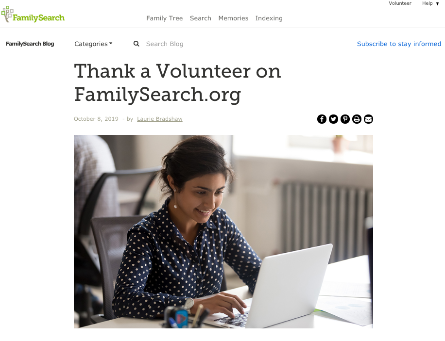 A new FamilySearch features allows people to thank the individual who indexed their ancestor's record.