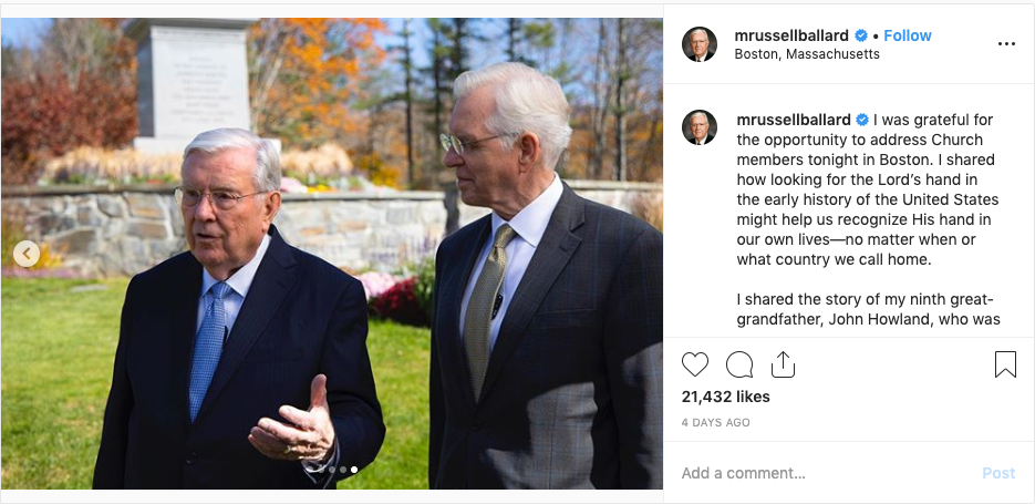 President M. Russell Ballard and Elder D. Todd Christofferson are pictured at the birthplace of Joseph Smith Jr. in Sharon, Vermont, in this Oct. 19, 2019, Instagram post.