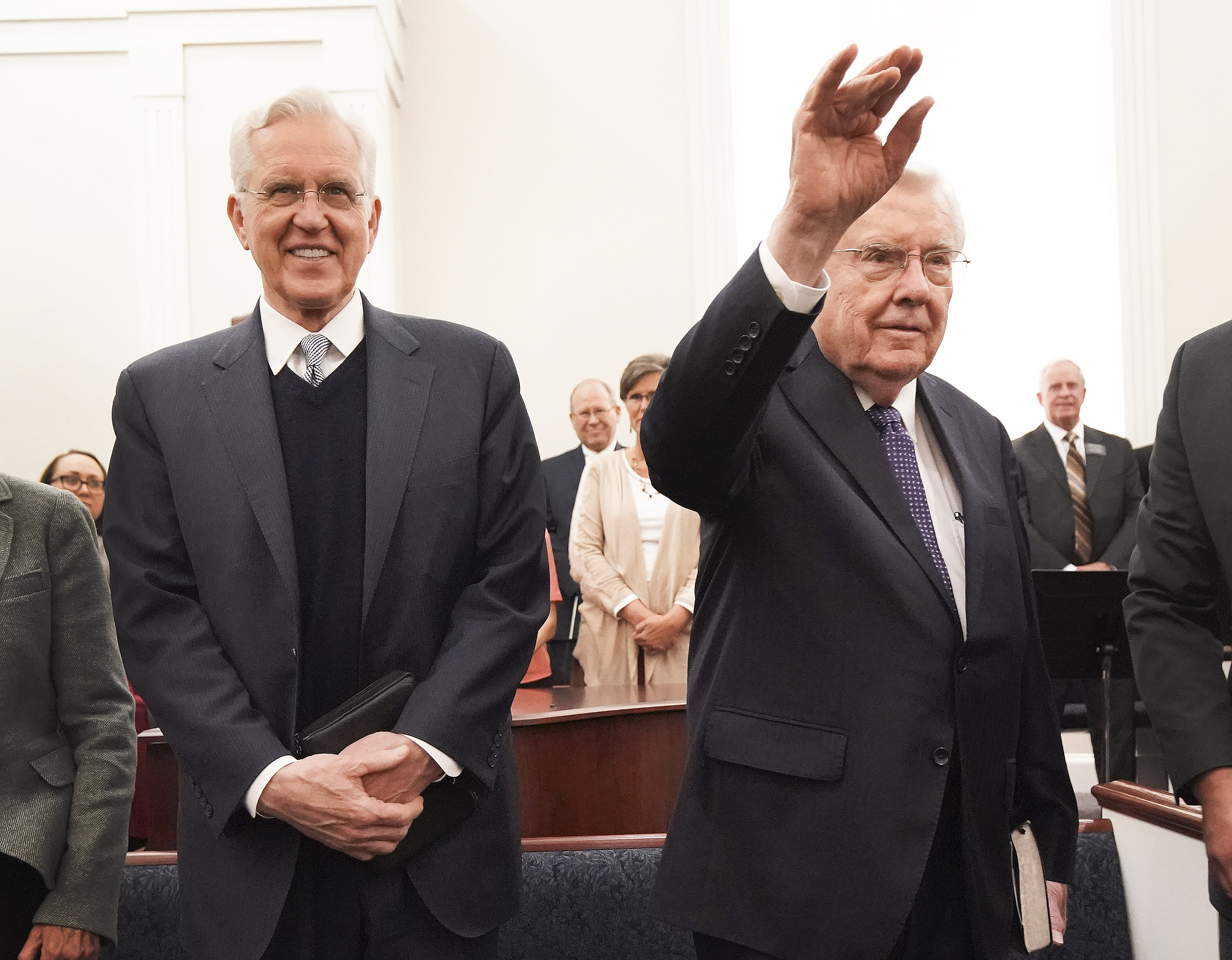 President M. Russell Ballard, acting president of the Quorum of the Twelve Apostles of The Church of Jesus Christ of Latter-day Saints, and Elder D. Todd Christofferson, of The Church of Jesus Christ of Latter-day Saints' Quorum of the Twelve Apostles, waves prior to speaking during a member meeting in South Royalton, Vt. on Friday, Oct. 18, 2019.