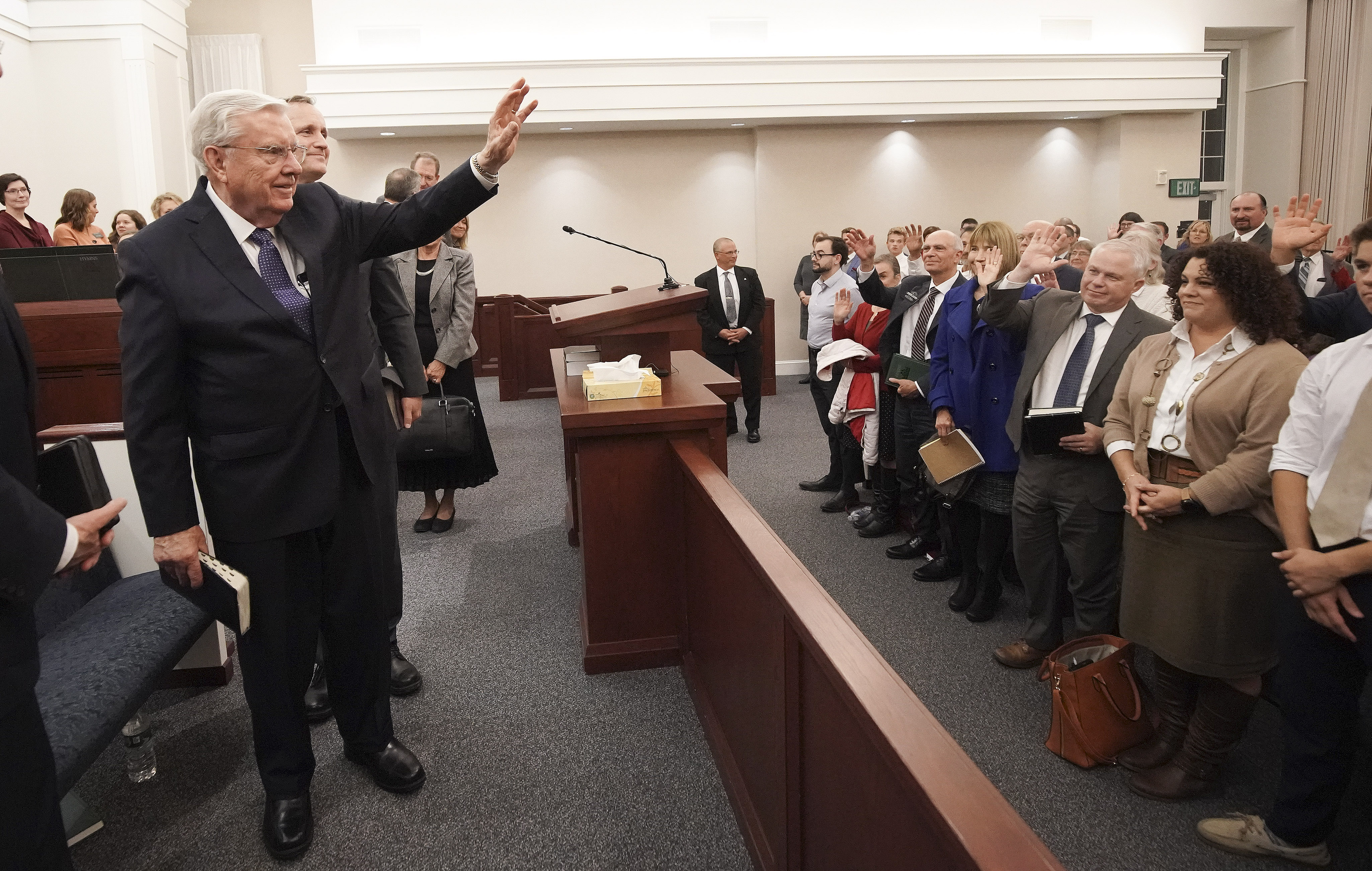 President M. Russell Ballard, acting president of the Quorum of the Twelve Apostles of The Church of Jesus Christ of Latter-day Saints, waves to attendees after a member meeting in South Royalton, Vt. on Friday, Oct. 18, 2019.