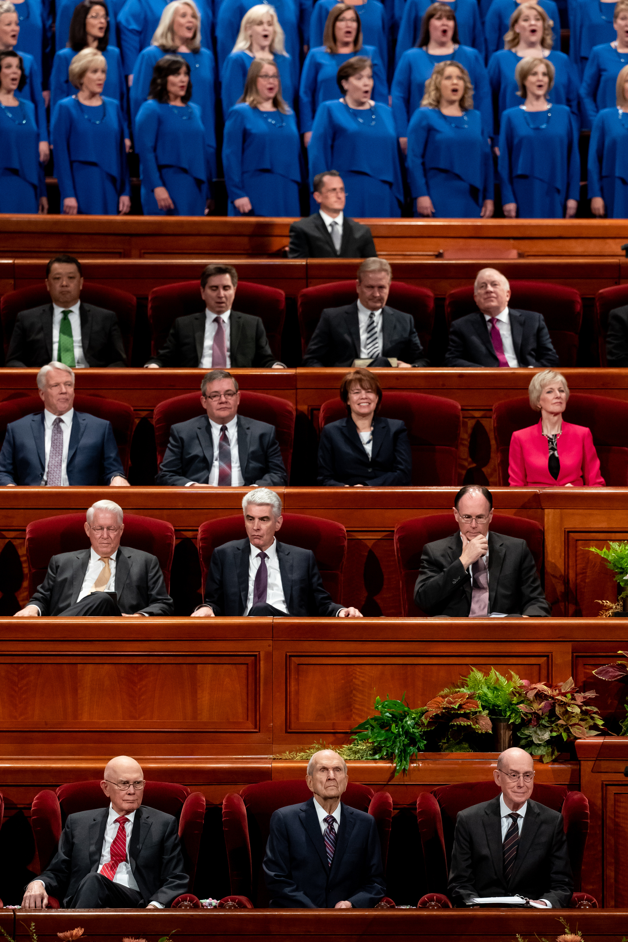 President Russell M. Nelson, center, President Dallin H. Oaks, first counselor in the First Presidency, left, and President Henry B. Eyring, second counselor in the First Presidency, right, take their seats at the start of the Saturday morning session of the 189th Semiannual General Conference of The Church of Jesus Christ of Latter-day Saints at the Conference Center in Salt Lake City on Saturday, Oct. 5, 2019.