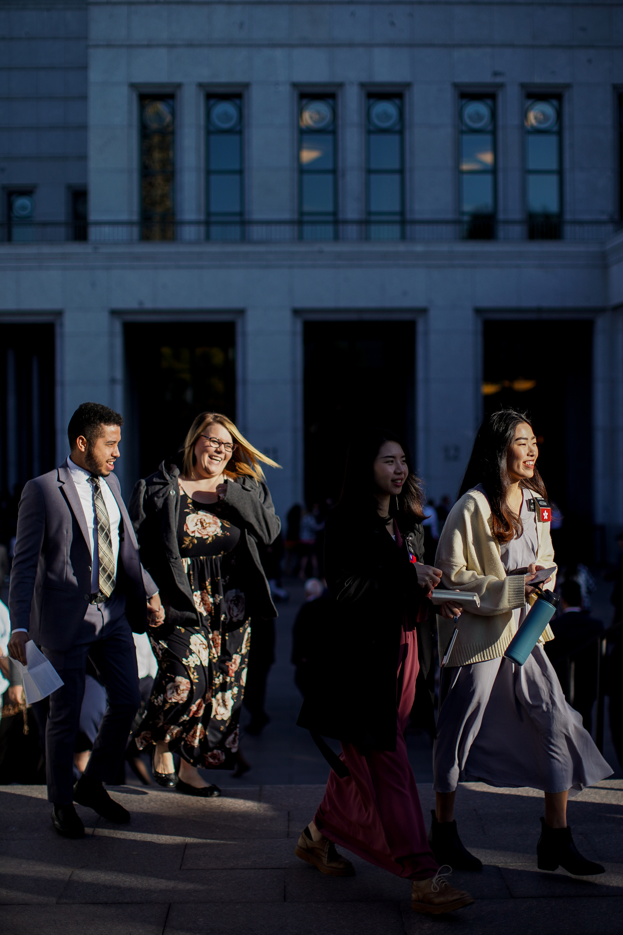 People arrive at the Conference Center in Salt Lake City before the 189th Semiannual General Conference of The Church of Jesus Christ of Latter-day Saints on Saturday, Oct. 5, 2019.