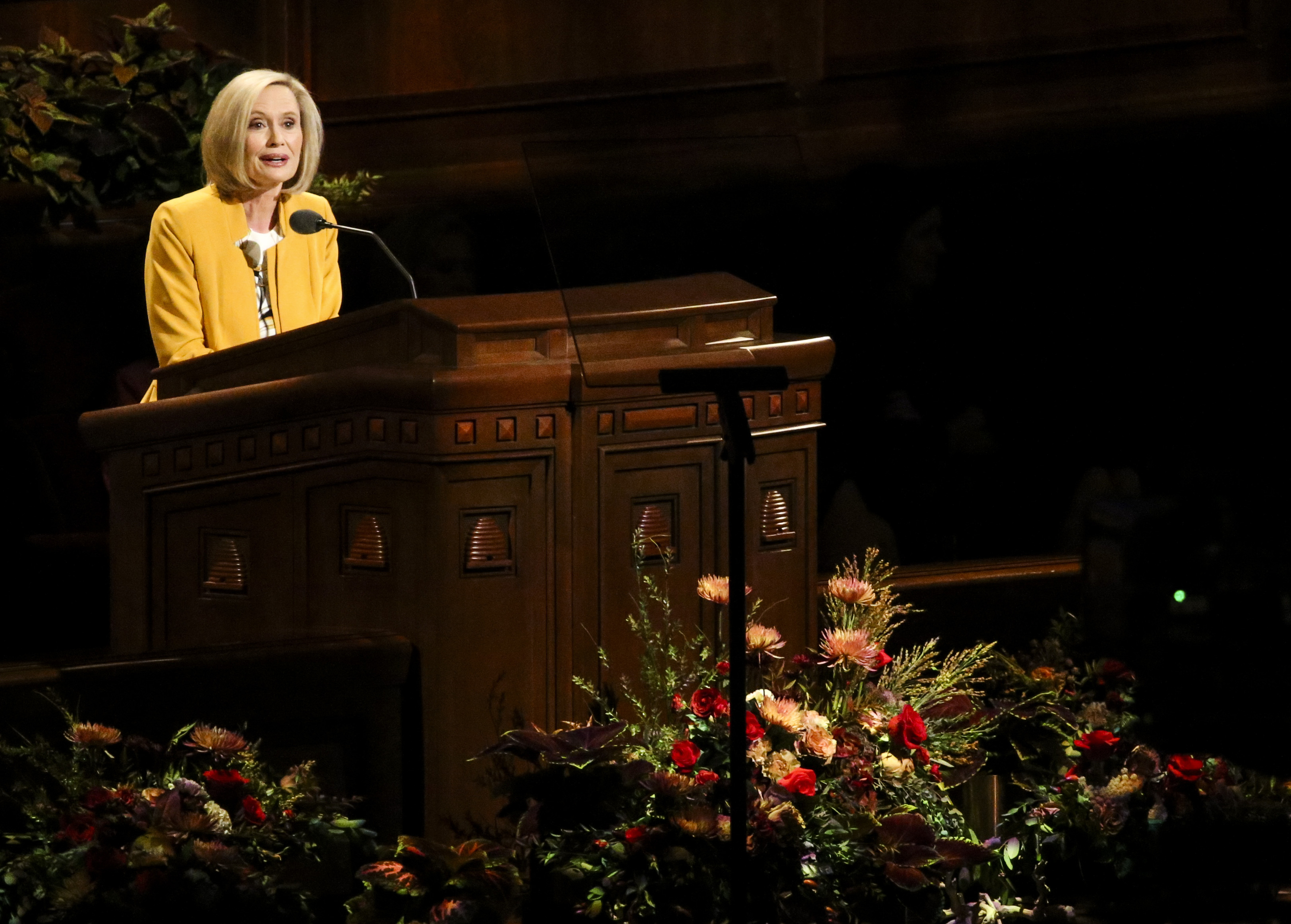 Sister Bonnie H. Cordon, Young Women general president, speaks during the women's session of the 189th Semiannual General Conference of The Church of Jesus Christ of Latter-day Saints at the Conference Center in Salt Lake City on Saturday, Oct. 5, 2019.