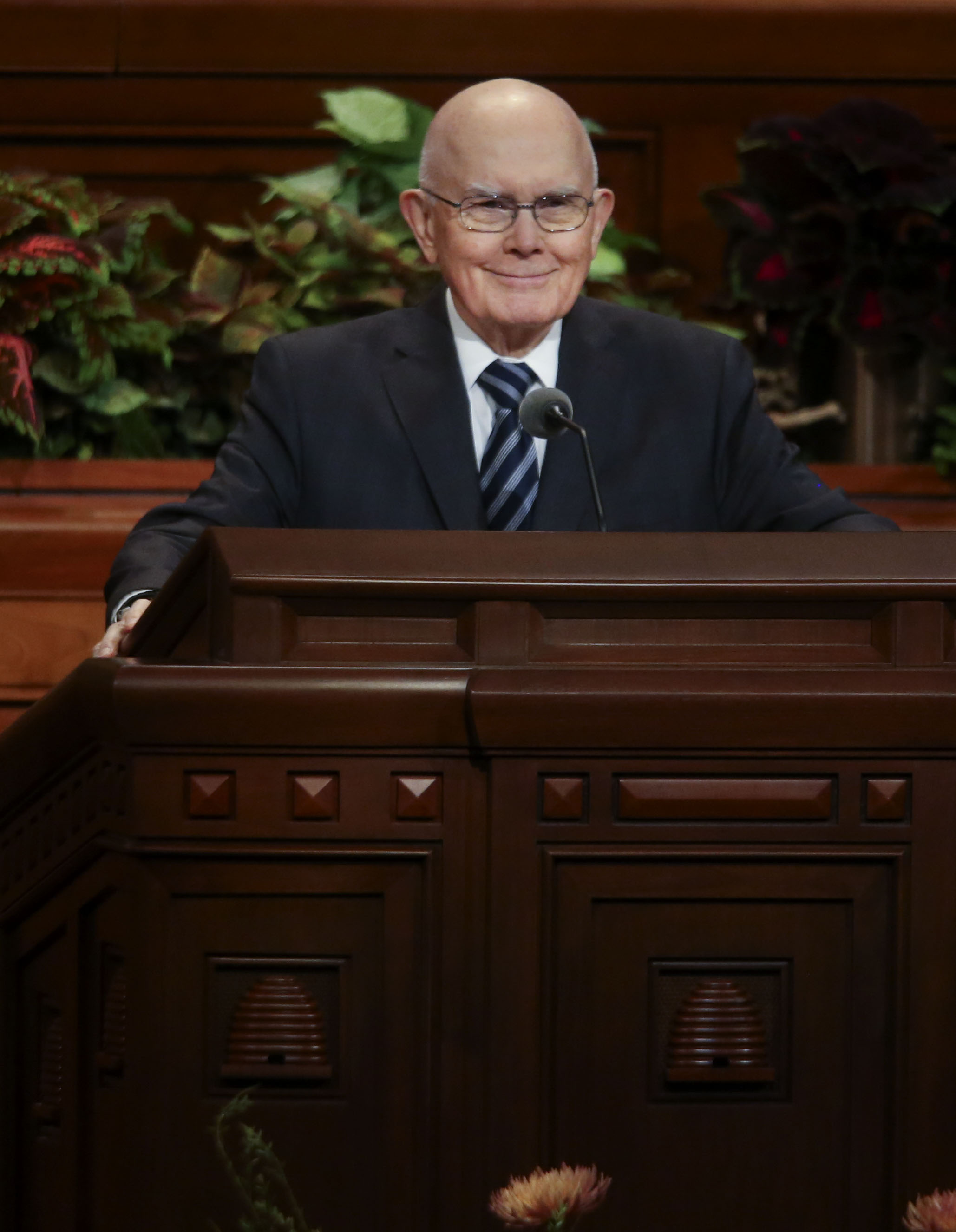 President Dallin H. Oaks, first counselor in the First Presidency of The Church of Jesus Christ of Latter-day Saints, speaks during the Sunday afternoon session of the 189th Semiannual General Conference of The Church of Jesus Christ of Latter-day Saints at the Conference Center in Salt Lake City on Sunday, Oct. 6, 2019.