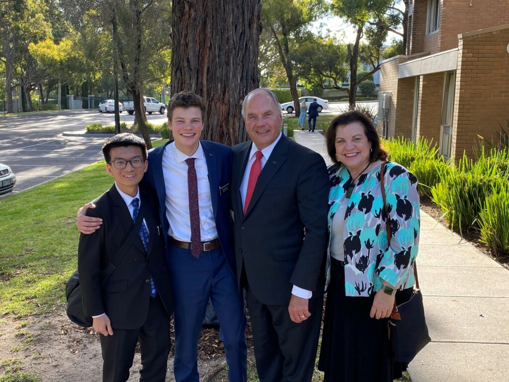 Elder Ronald A. Rasband and Sister Melanie Rasband, right, pose for a photo with their missionary grandson, Elder Jameson MacPherson, second from left, and his companion, Elder Tan Zue Wen Rayner, left, in Melbourne, Australia, on Nov. 18, 2019.
