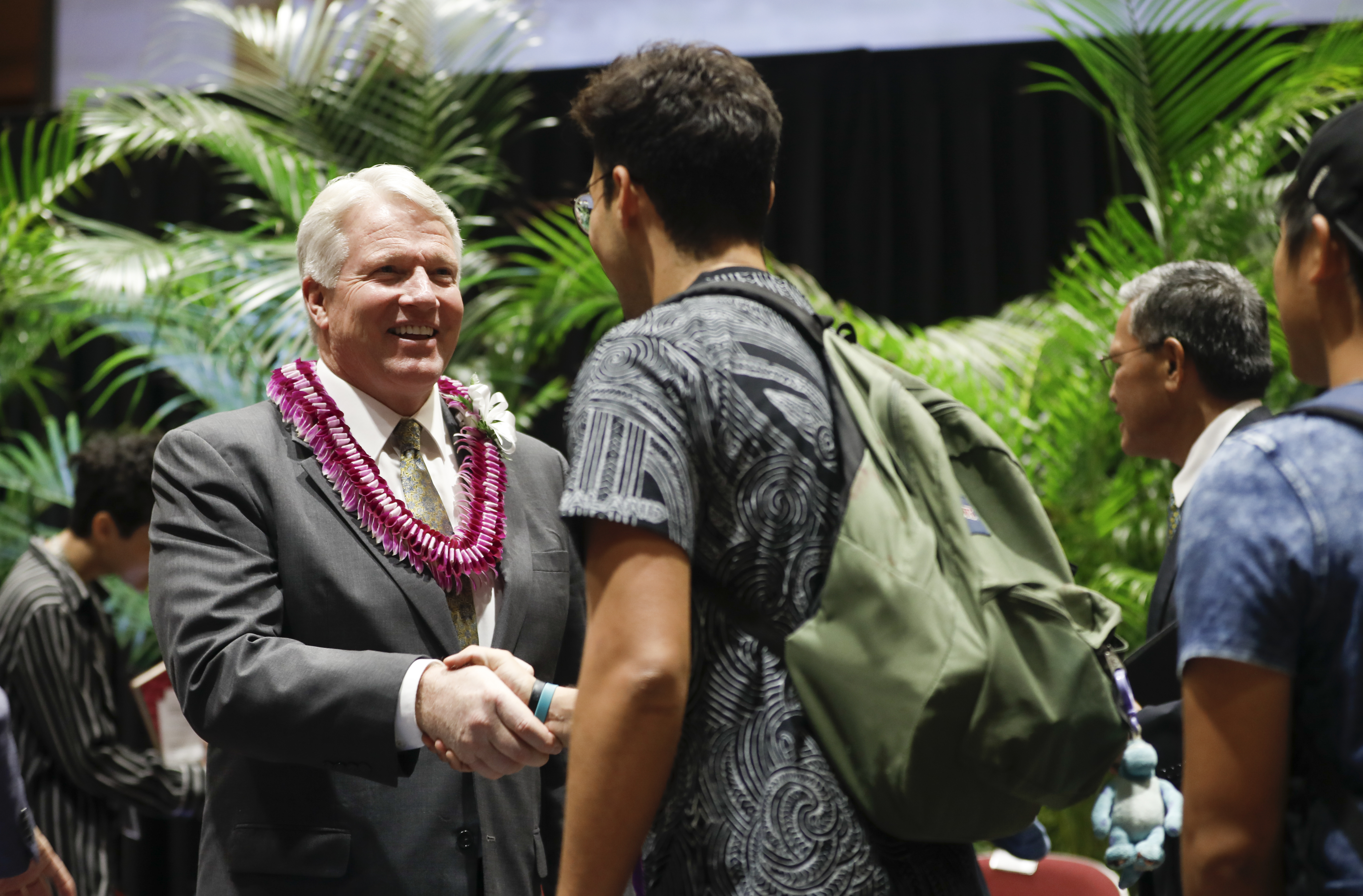 Brother Stephen W. Owen, Young Men general president, greets students following a devotional at BYU–Hawaii on Nov. 5.